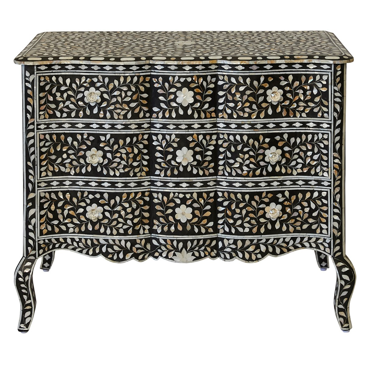 Aria Handcrafted Bone Inlay 3 Drawer Chest