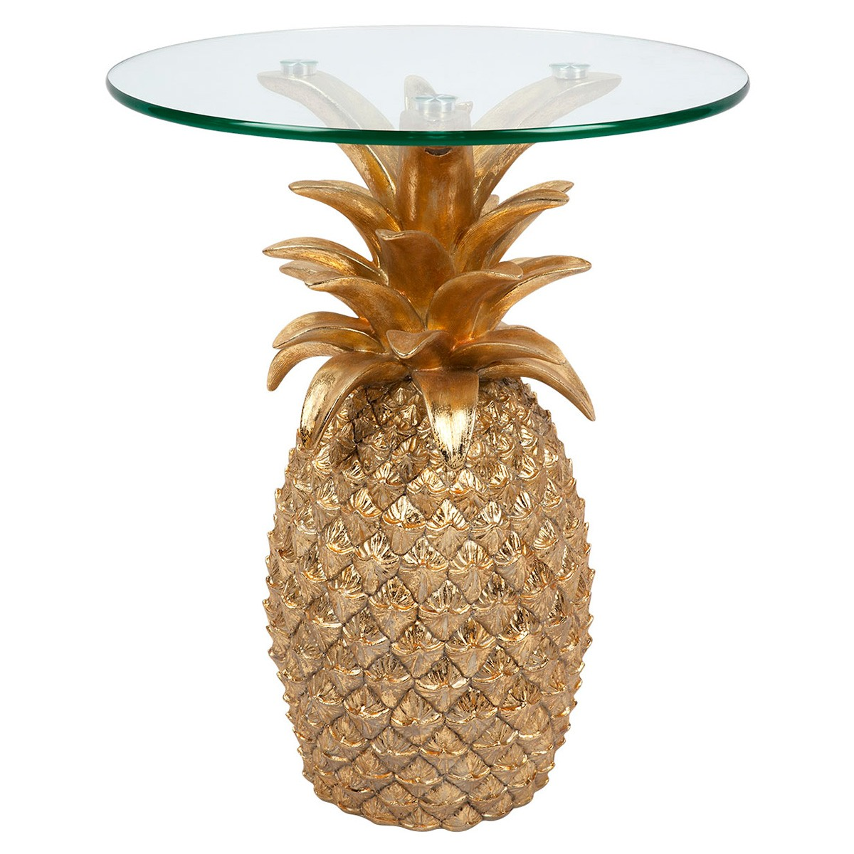 Tropicana Handcrafted Glass Top Pineapple Side Table