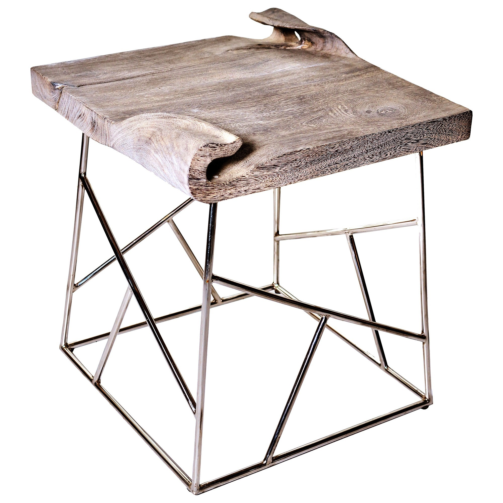 Turned Suar Wood & Stainless Steel Side Table