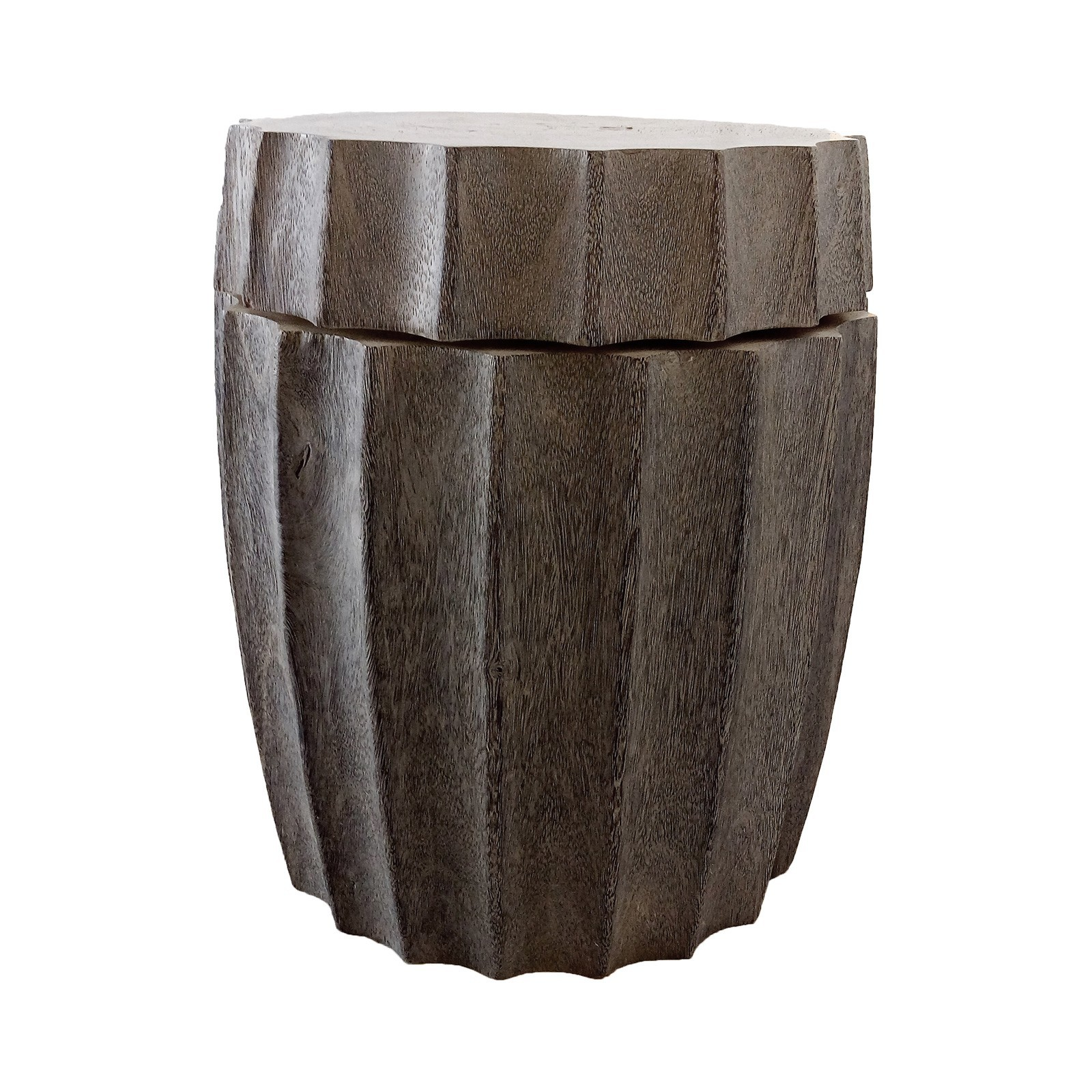 Bottle Top Suar wood Swivel Drum Stool