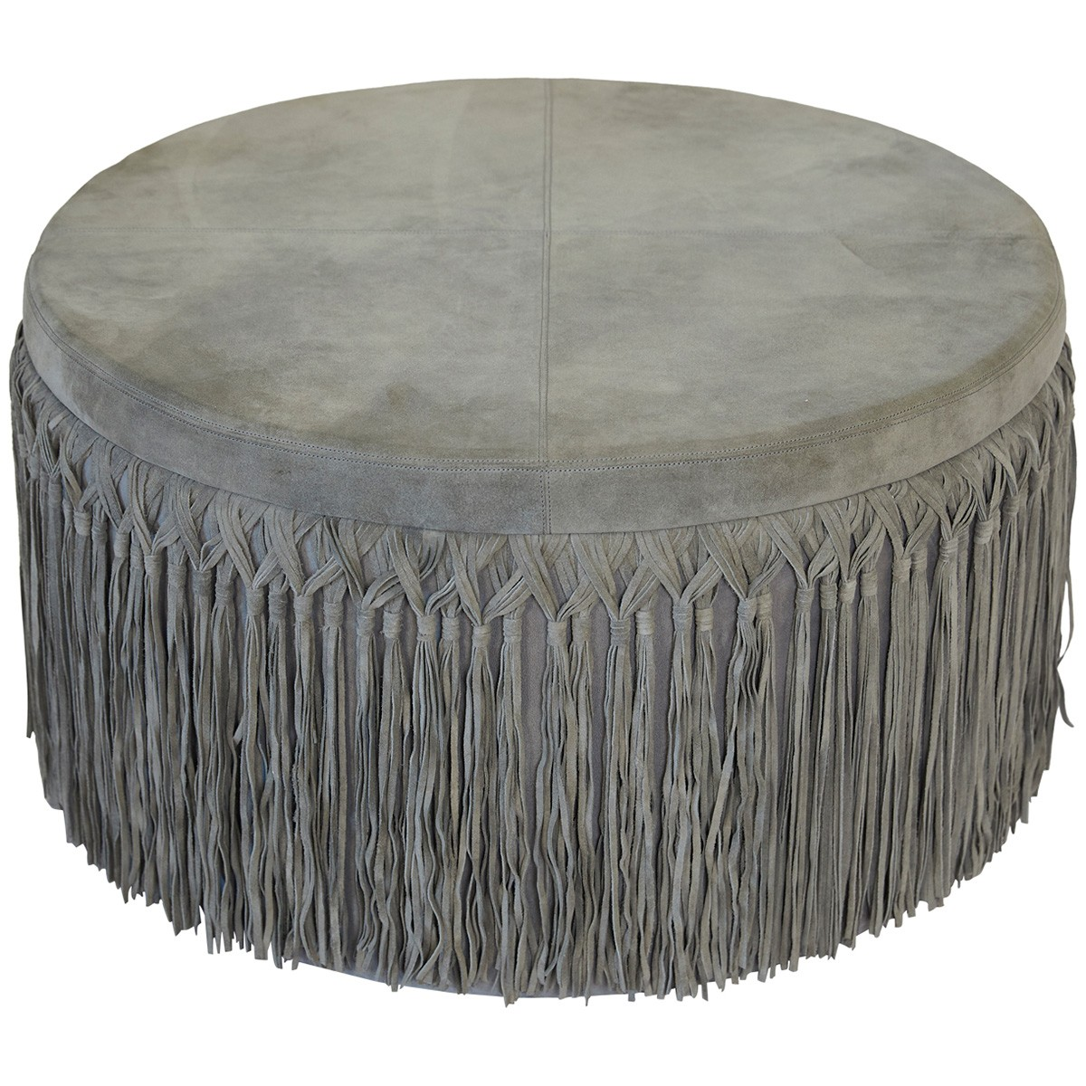 Indio Suede Leather Round Ottoman