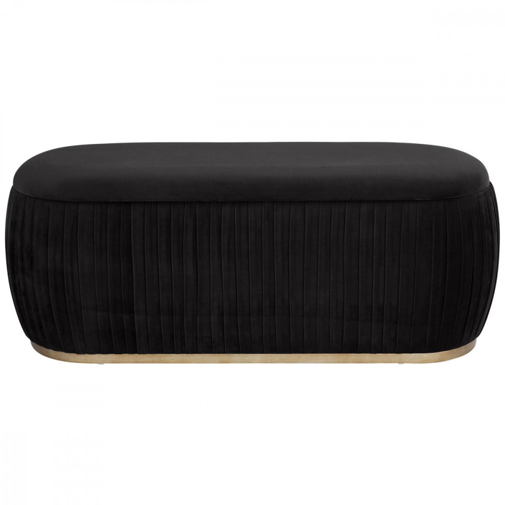 Capsule Velvet Fabric Storage Ottoman, Black