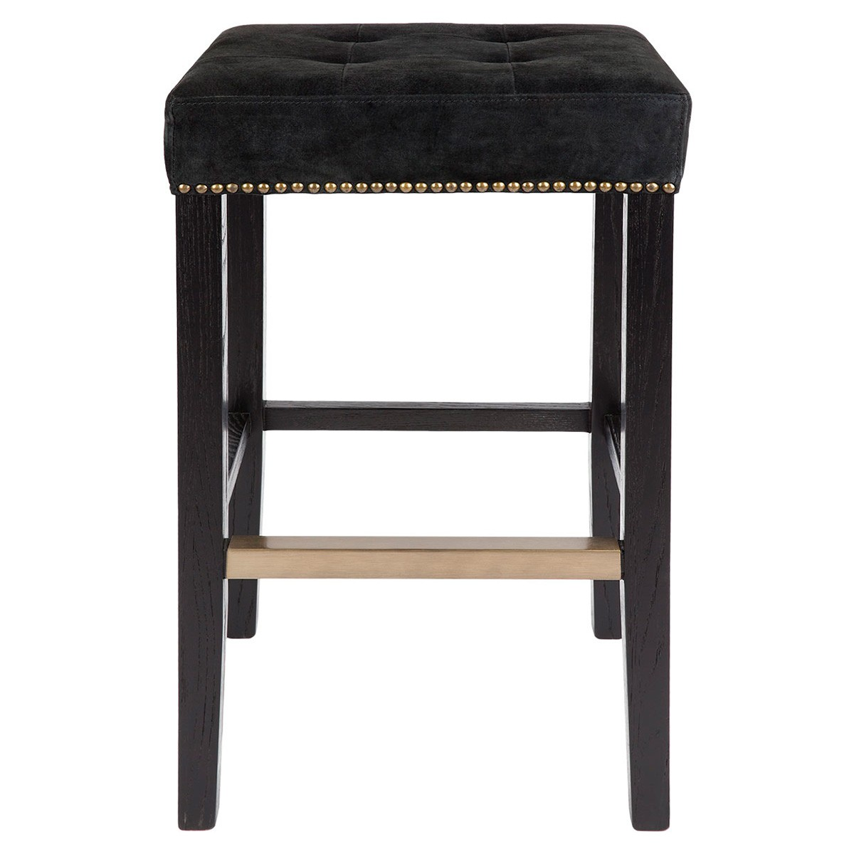 Canyon Bar Stool, Black Leather