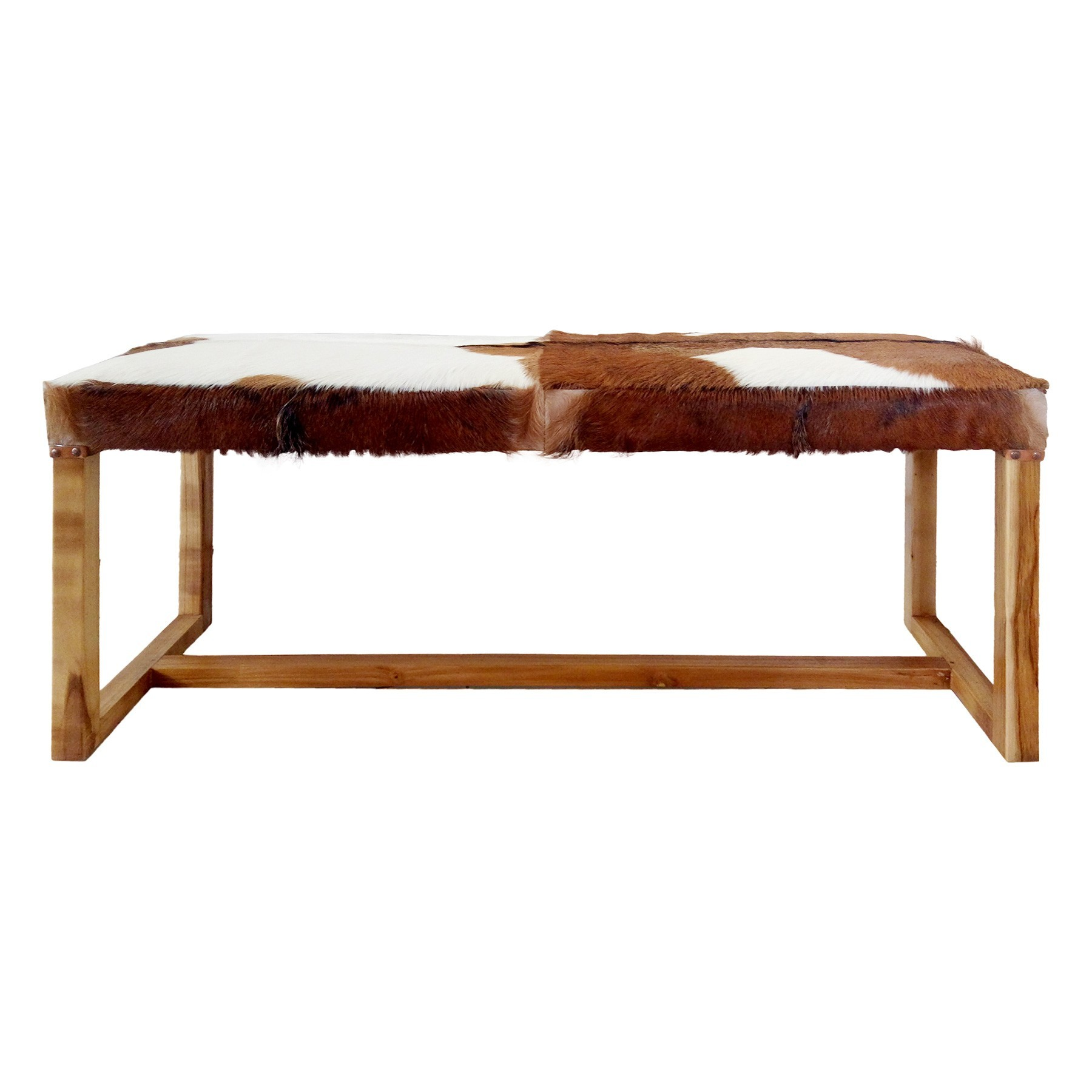 Northman Goat Hide & Teak Timber Bench, 120cm