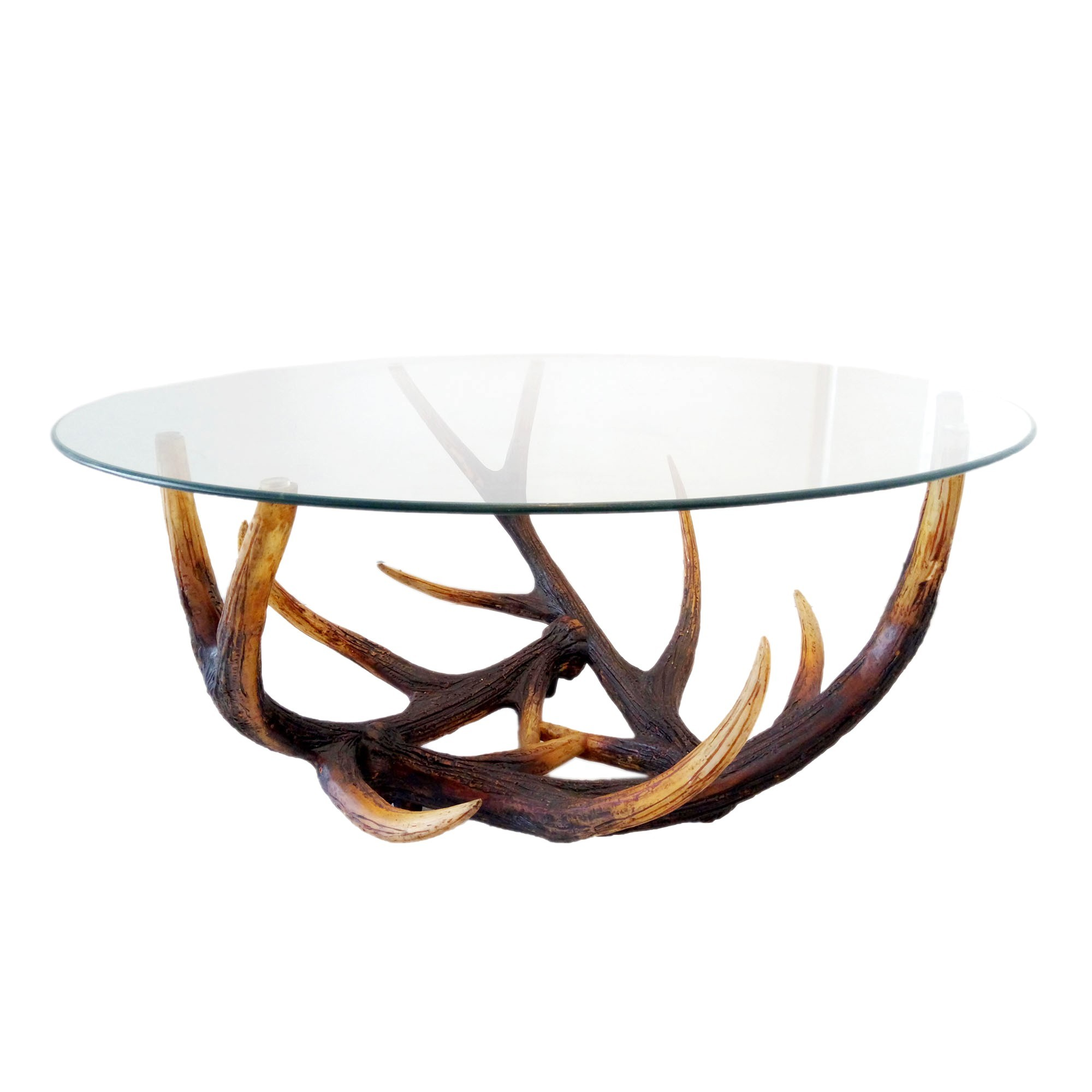 Elk Antler Glass Top Round Coffee Table, 100cm