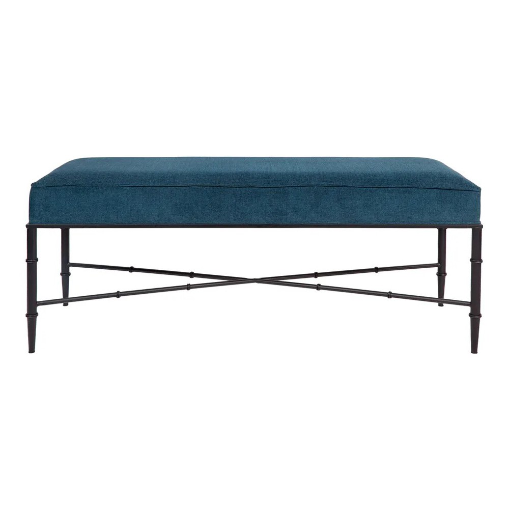 Hacienda Velvet Fabric & Iron Ottoman Bench, 120cm, Teal / Black