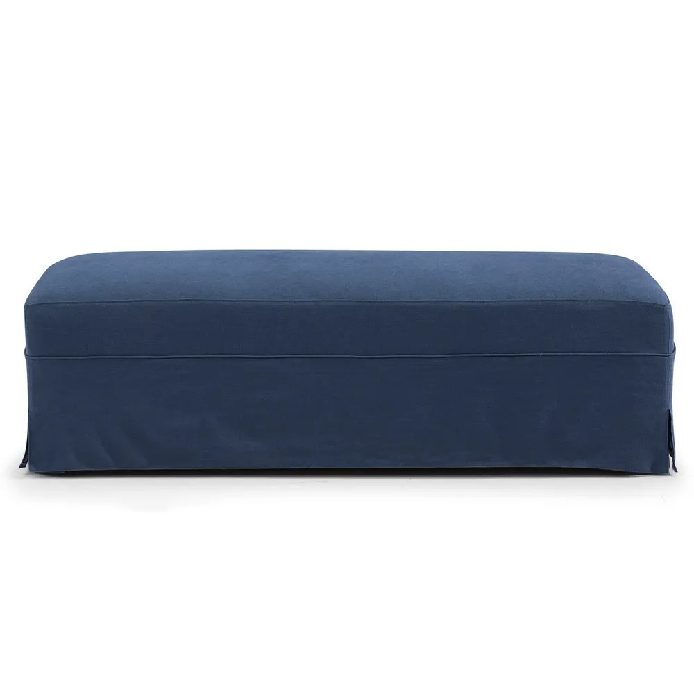 Brighton Fabric Slipcover Ottoman, Navy