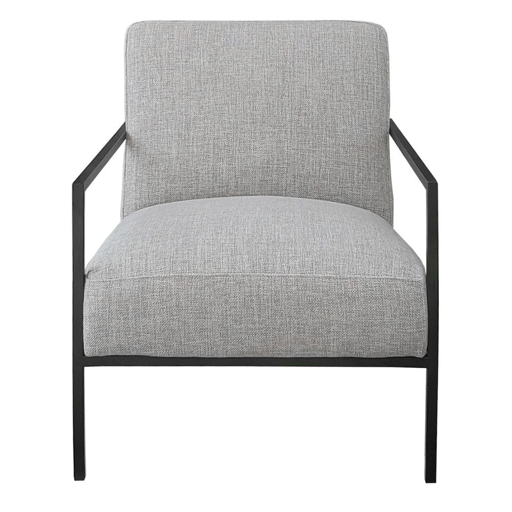 Hemming Fabric & Steel Armchair, Grey
