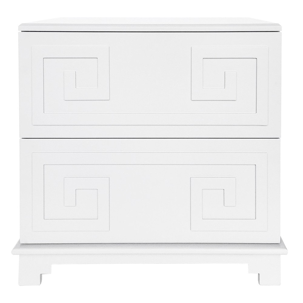Greek Key 2 Drawer Bedside Table, Grey