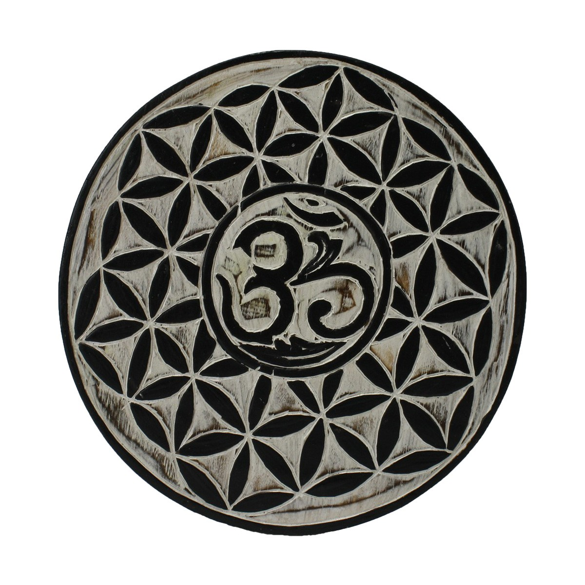 Om Carved Wooden Round Wall Art, 25cm