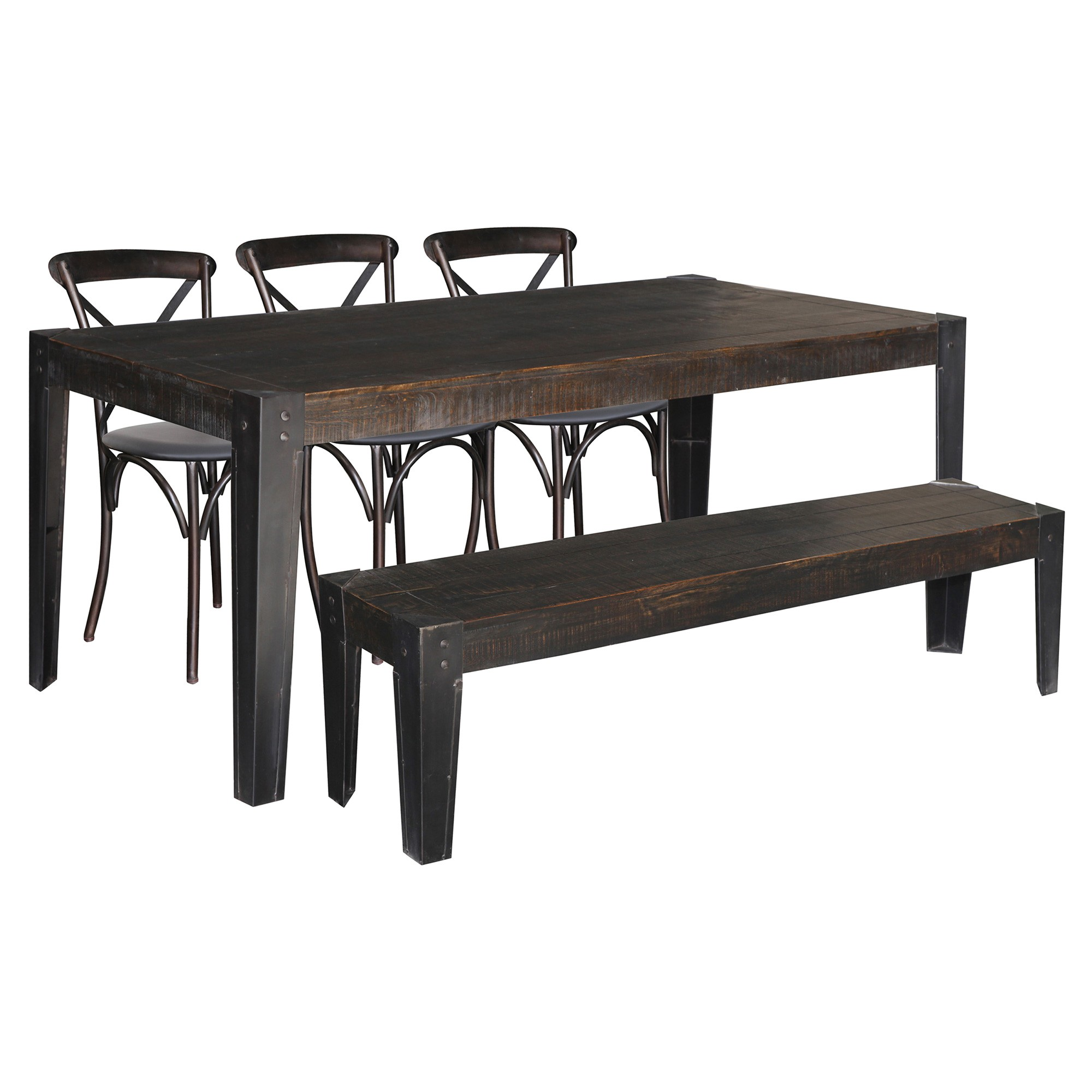 City Living 5 Piece Hardwood Timber & Metal Dining Table Set with Bench, 178cm