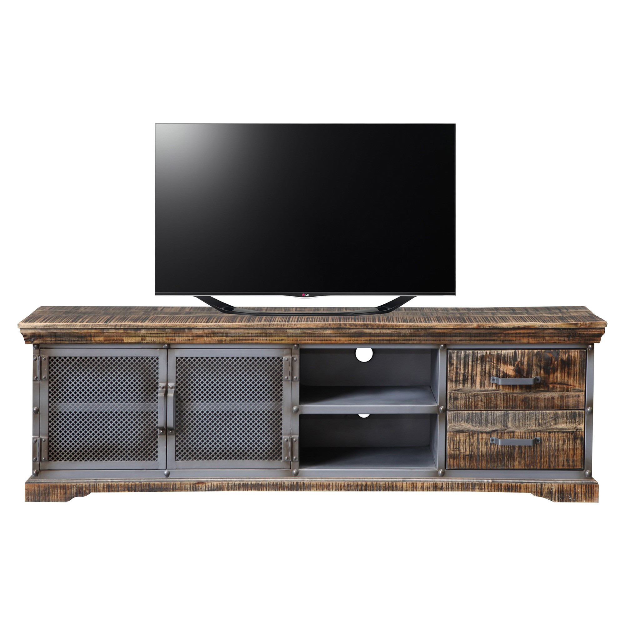 Armidale Industrial Timber & Metal 2 Door 2 Drawer TV Unit, 180cm