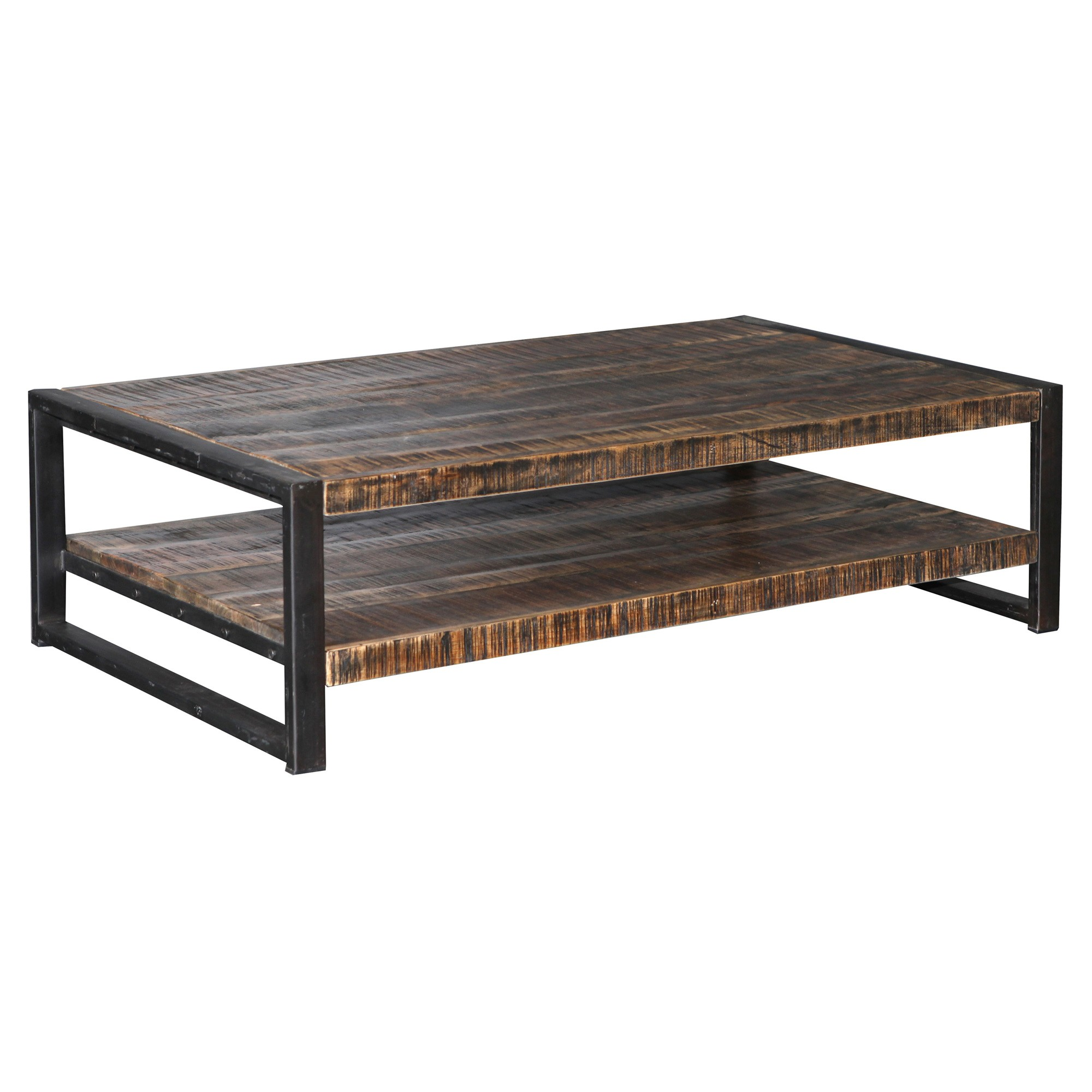Armidale Industrial Timber & Metal Coffee Table, 140cm
