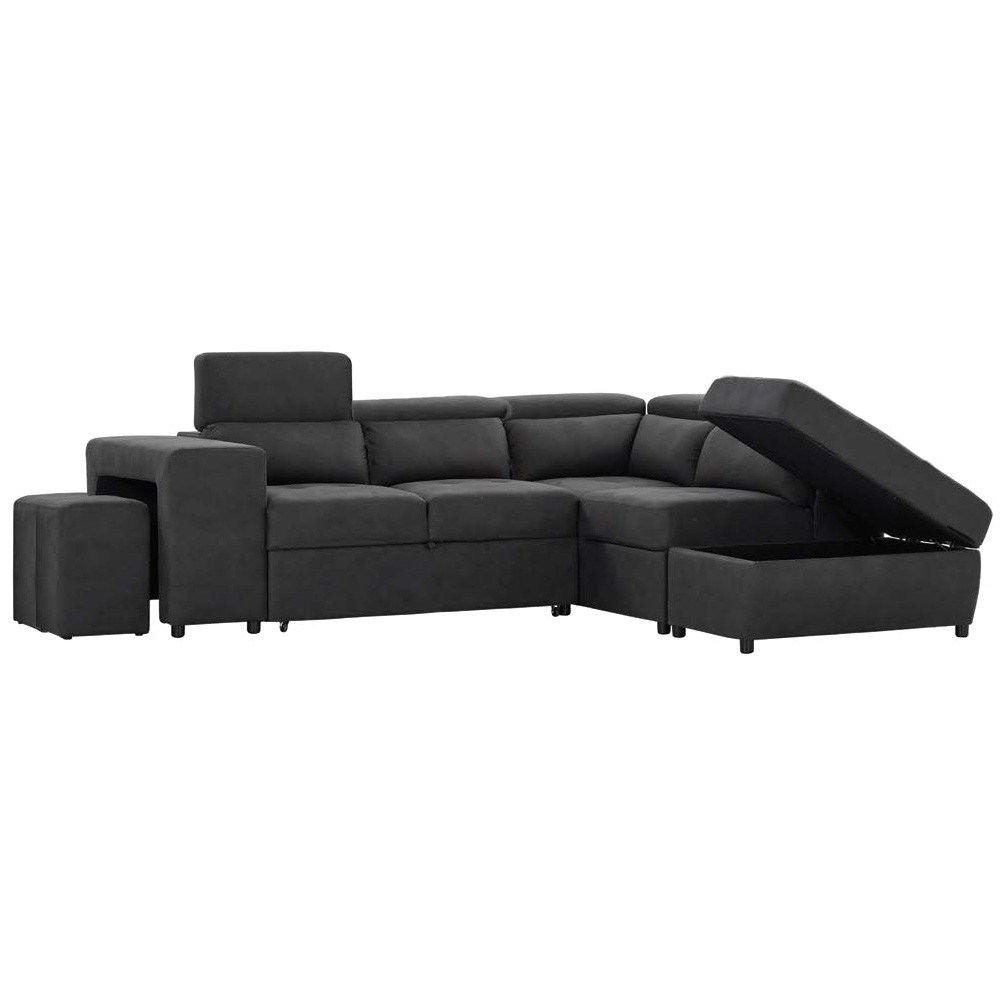Tiffany Rhino Fabric Corner Sofa with Storage Ottoman & Stool, Charcoal
