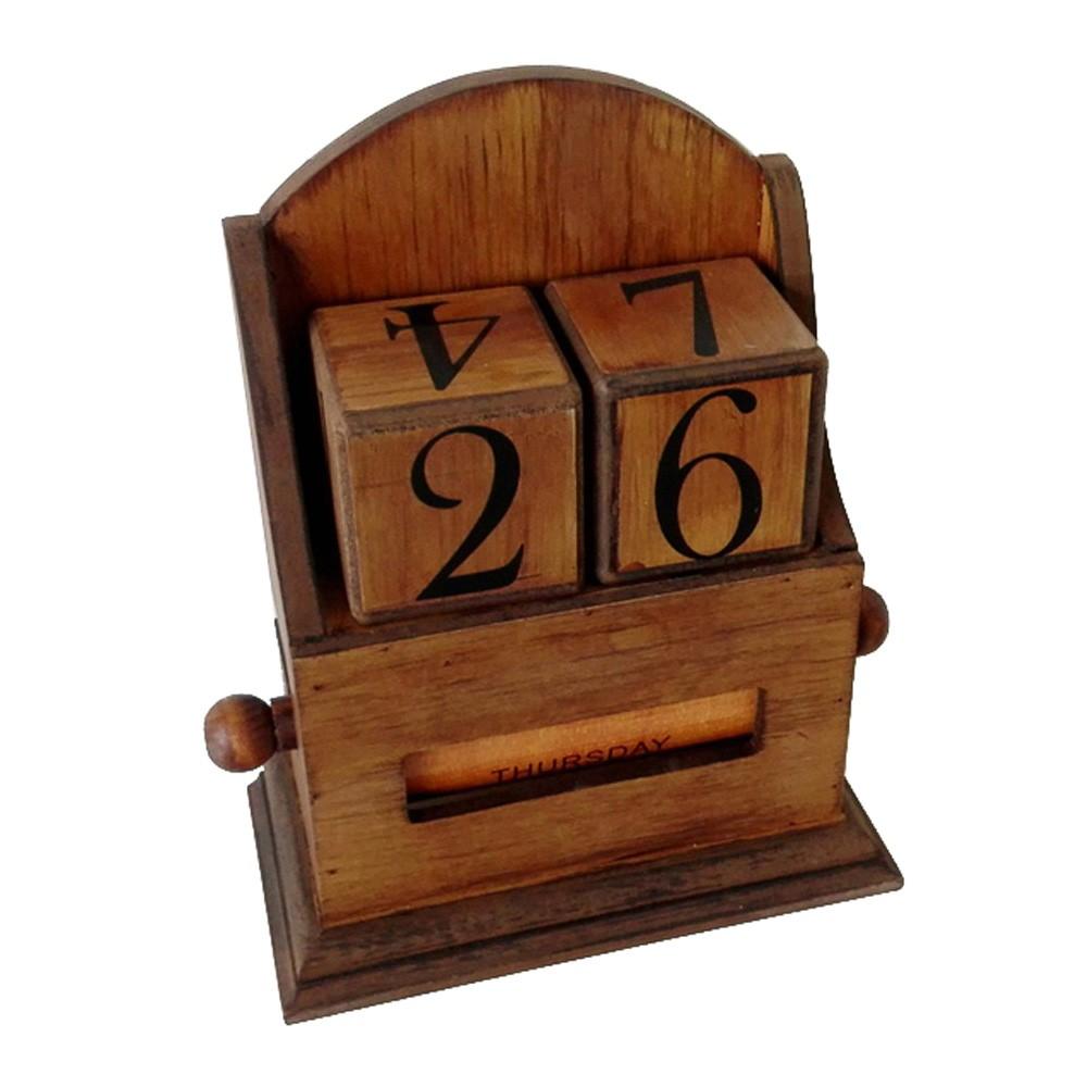 Haxton Vintage Wooden Perpetual Desk Calendar