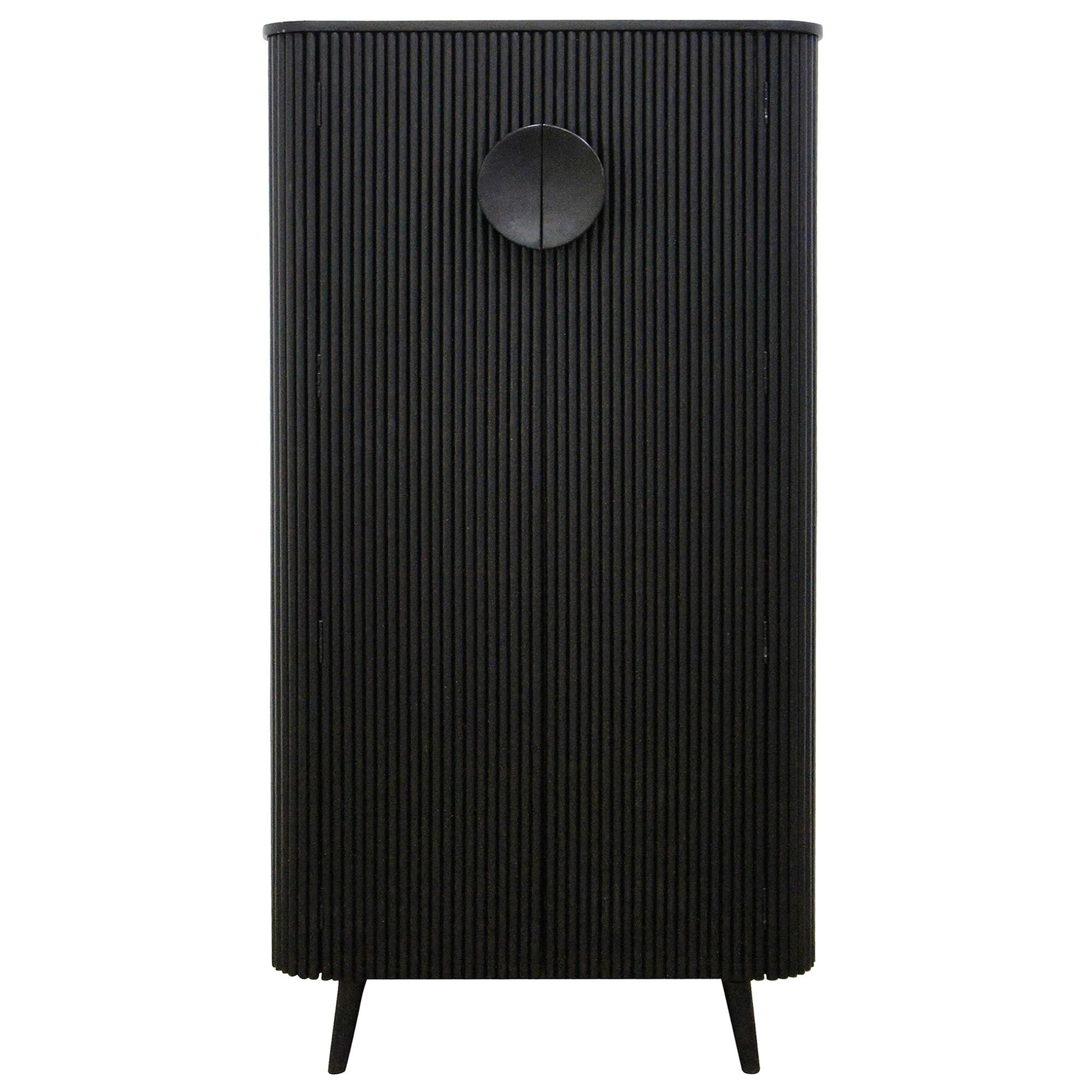 Rydge Wooden 2 Door Tall Cabinet, Black