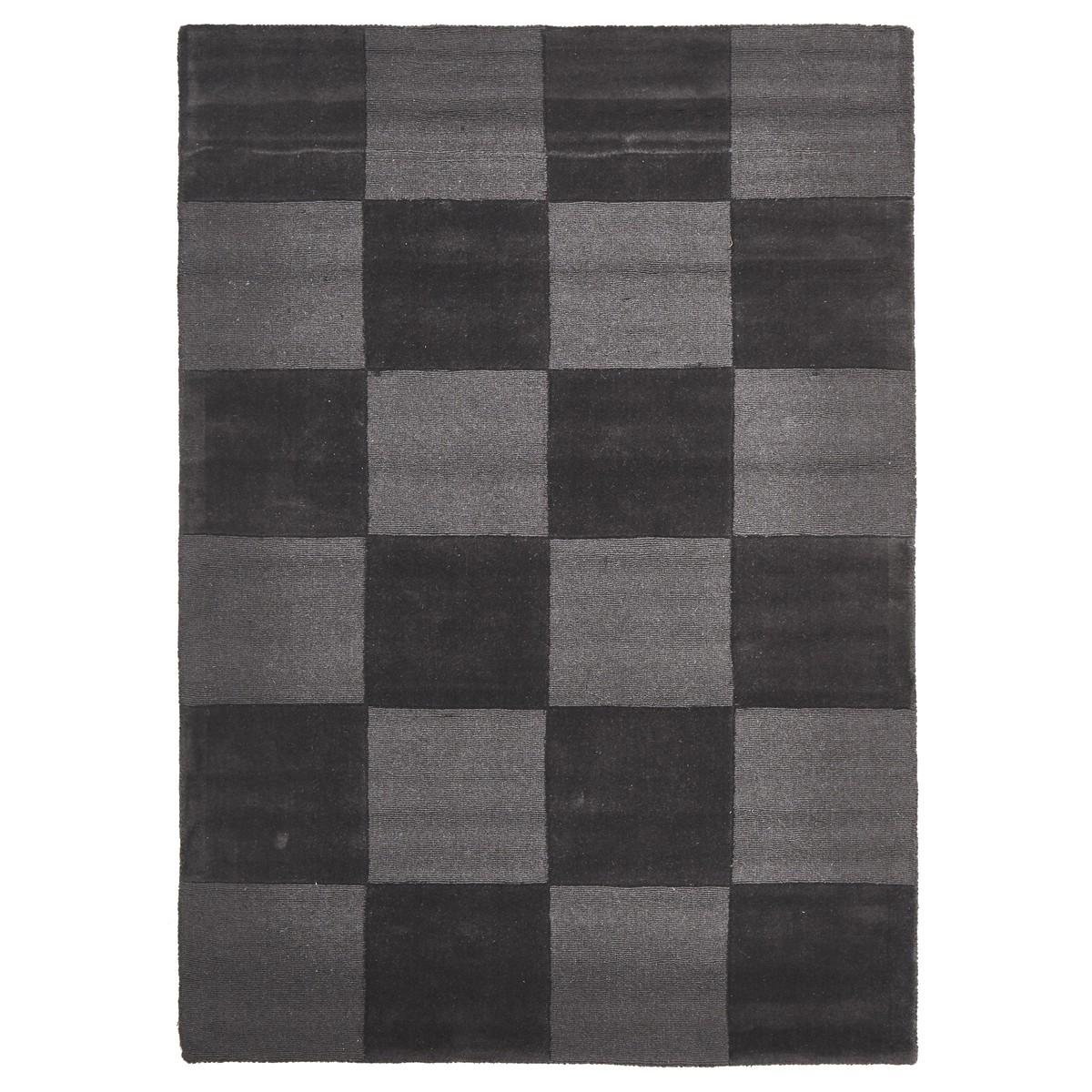 Evangeline Hand Loomed Modern Wool Rug, 165x115cm, Charcoal