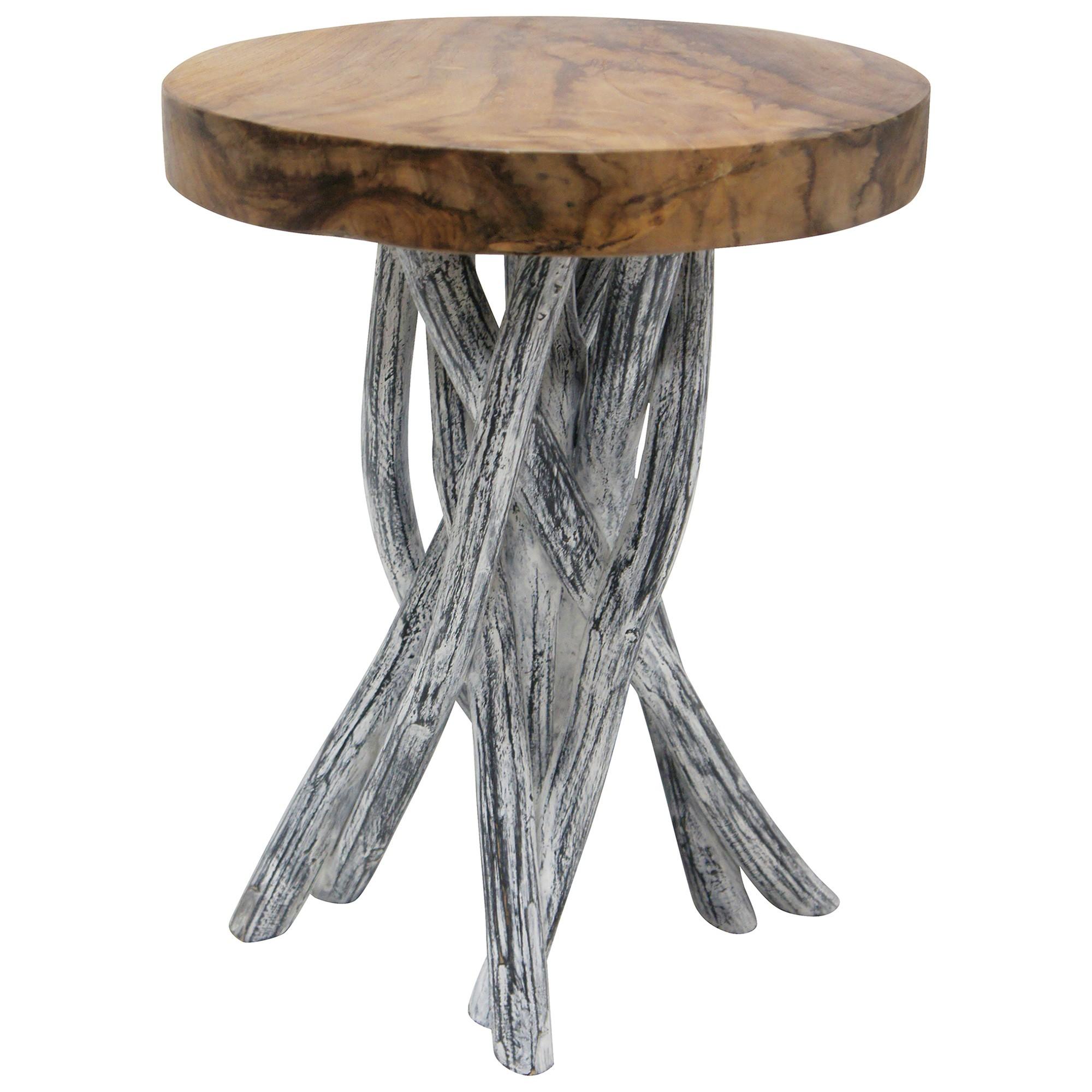 Kadir Teak Driftwood Round Side Table