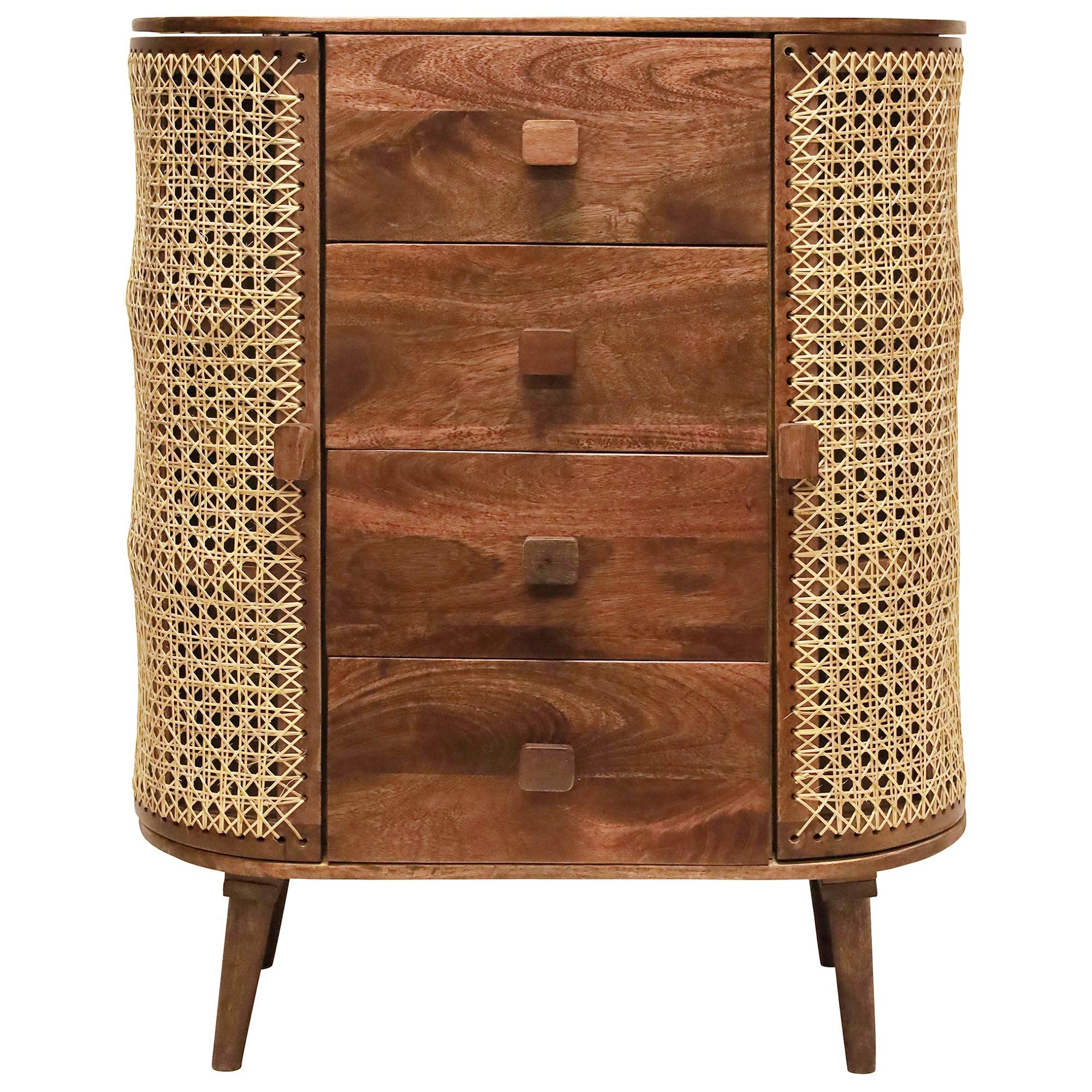 Sirocco Mango Wood & Cane 4 Drawer 2 Door Chest