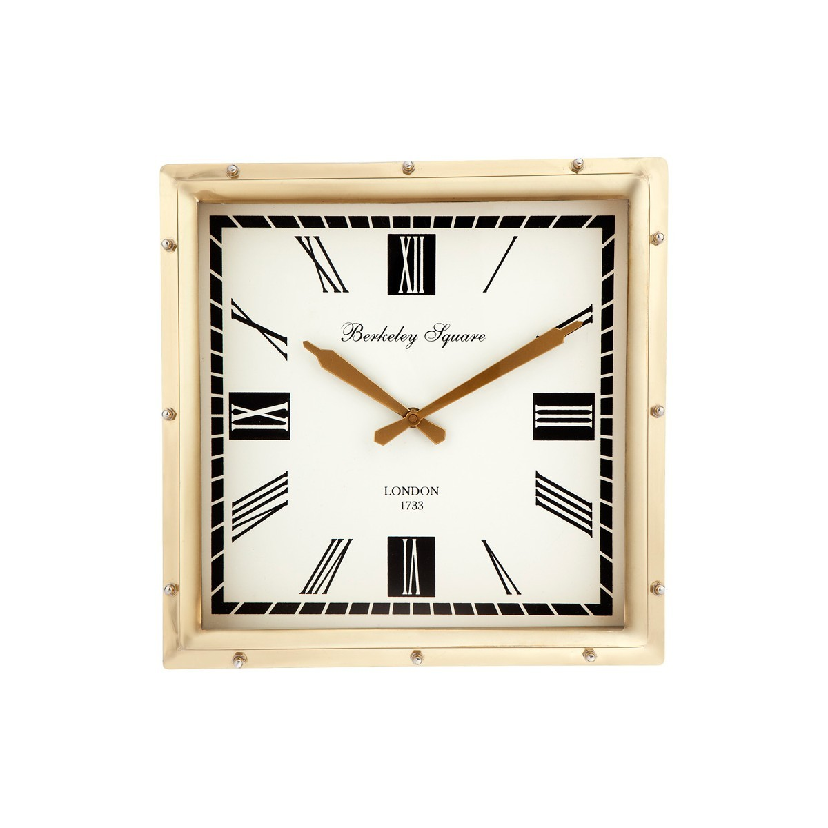 Oyster Metal Square Wall Clock, Brass