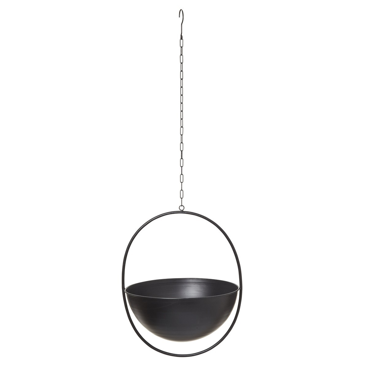 Harmony Metal Hanging Bowl Planter, Large, White-I