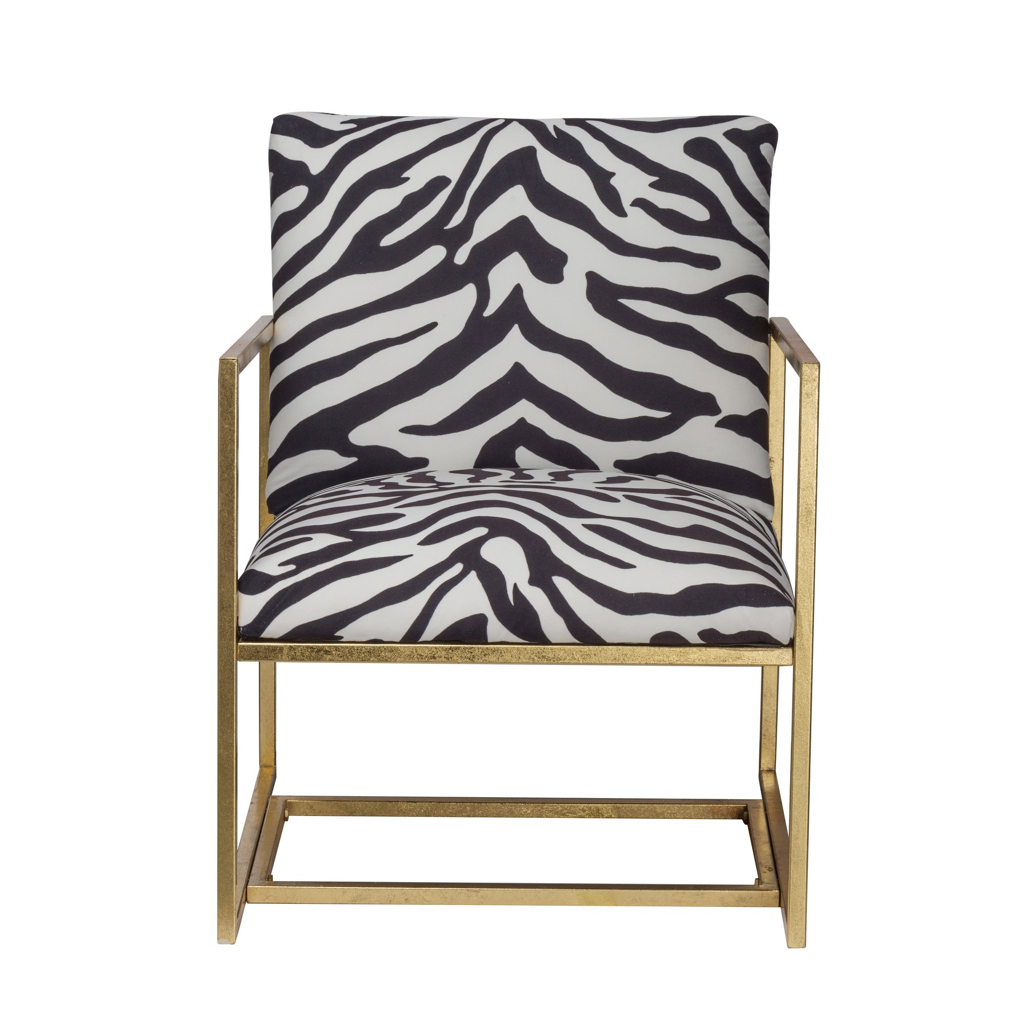 Leopard Fabric & Iron Lounge Armchair