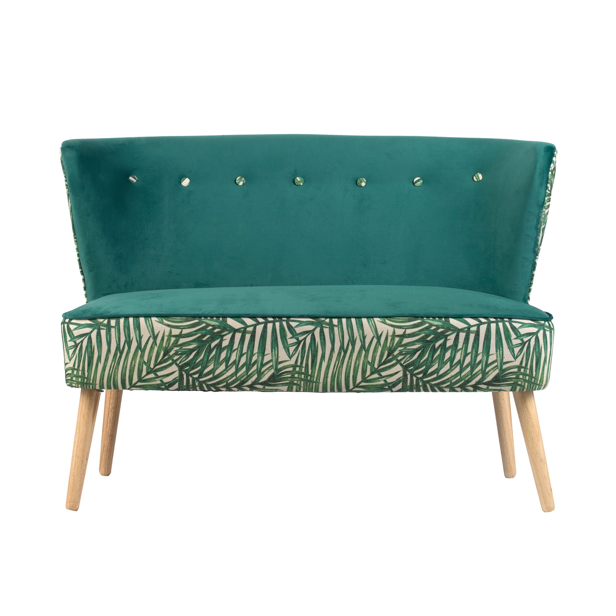 Green Fern Fabric Loveseat