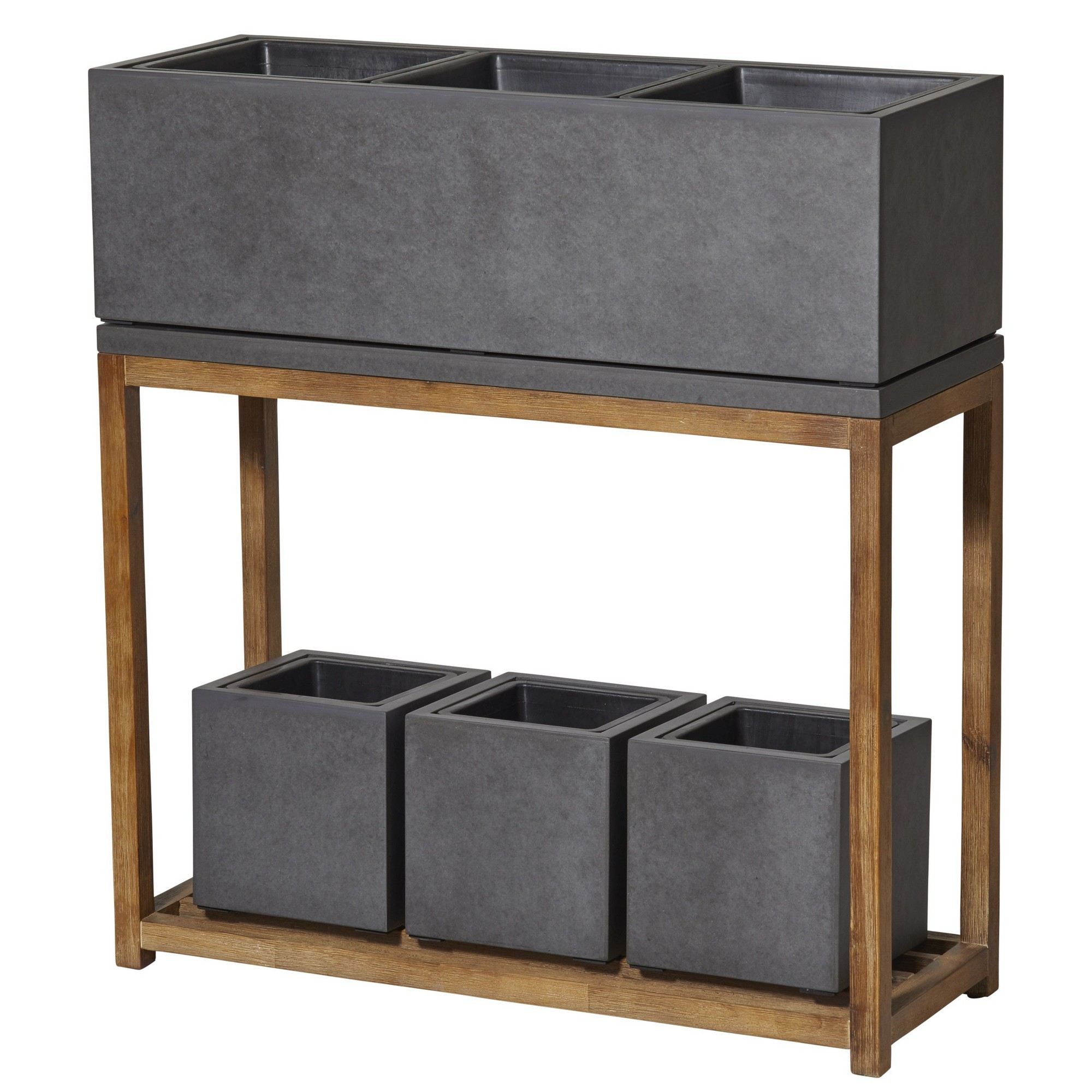 Bowie Concrete Planter Set on Timber Stand, Large