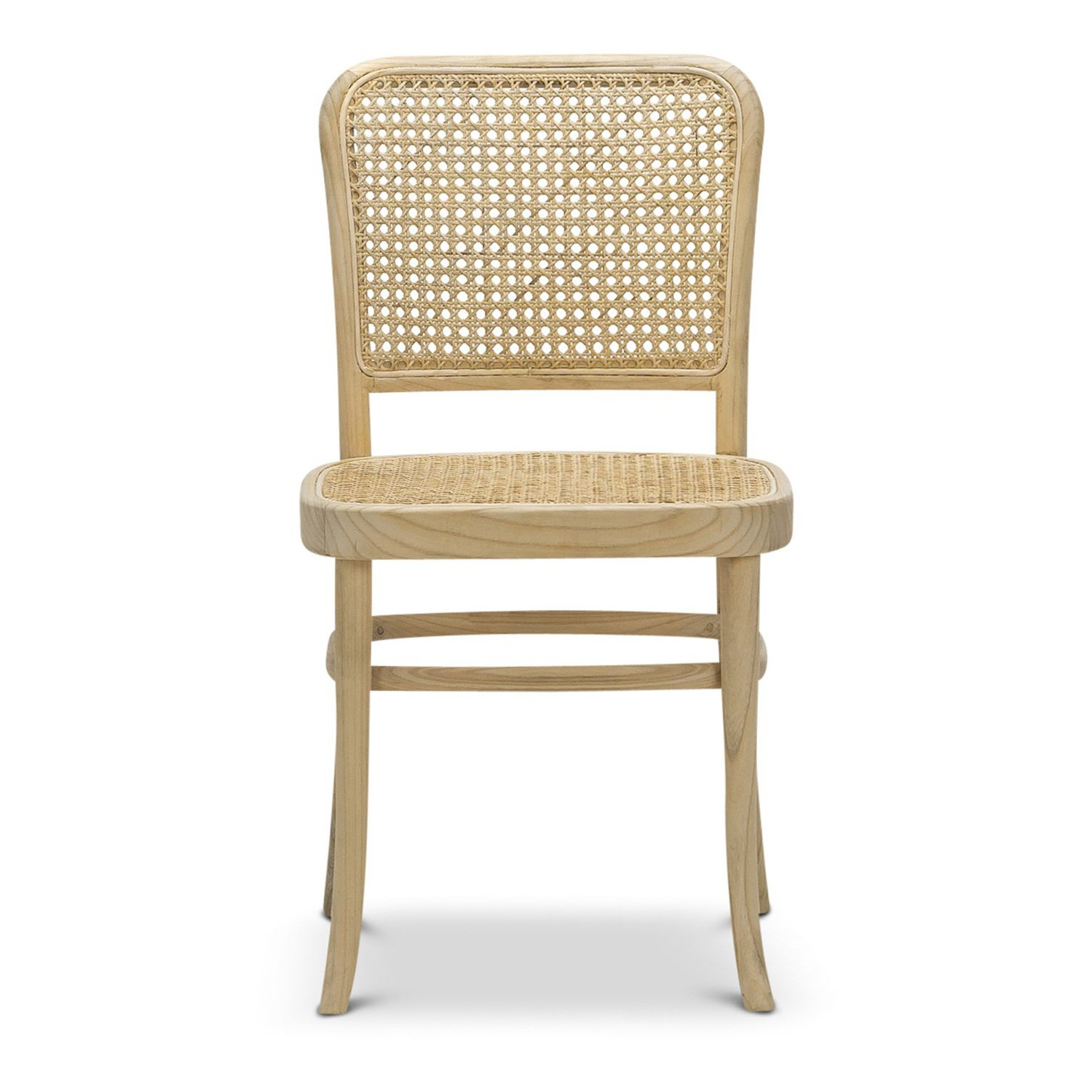 Prague Rattan & Teak Timber Dining Chair, Set of 2, Natural