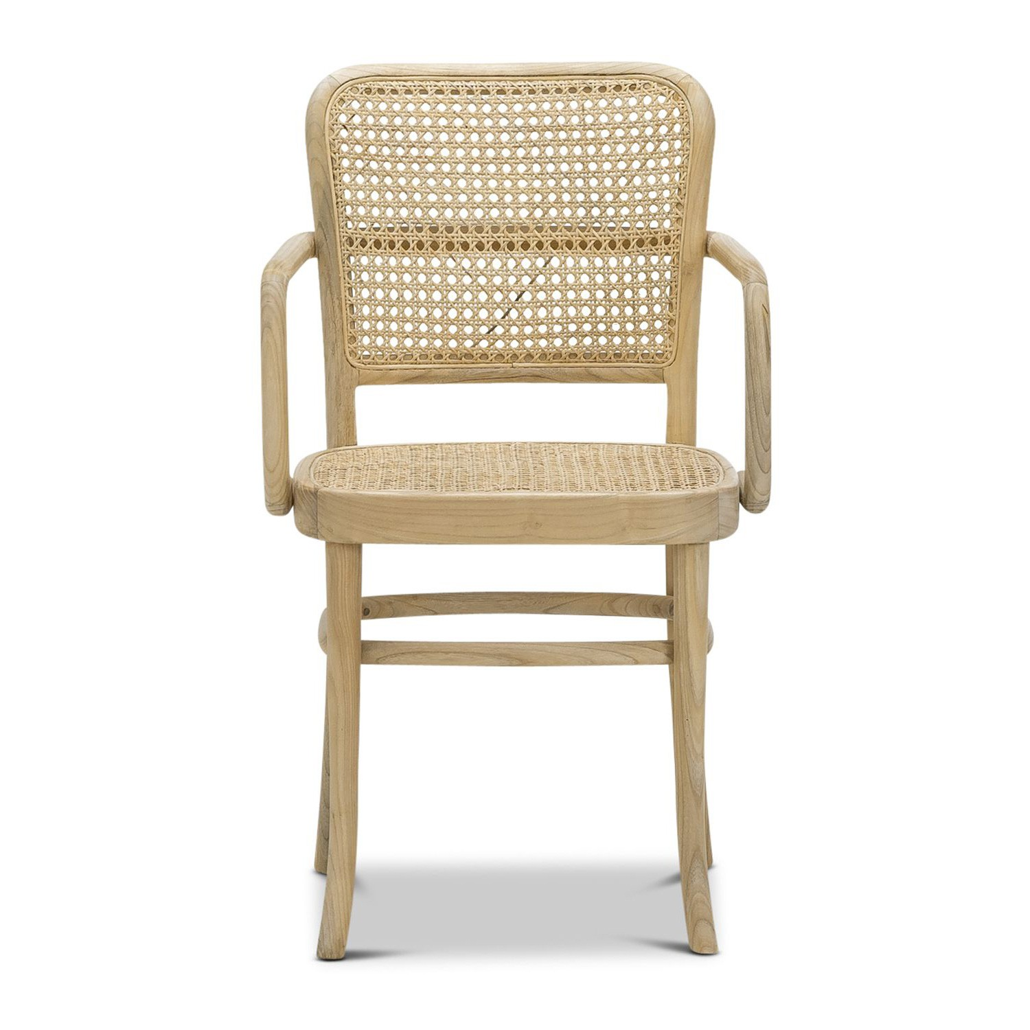 Prague Rattan & Teak Timber Dining Armchair, Natural