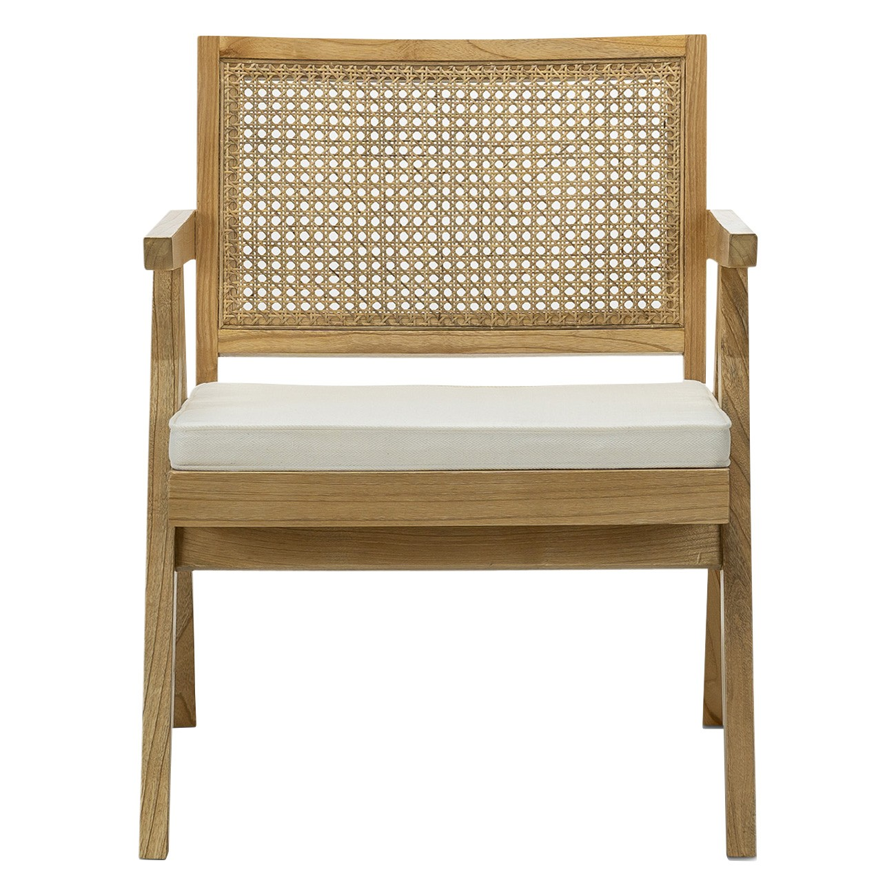 Mira Teak & Rattan Lounge Armchair, Natural