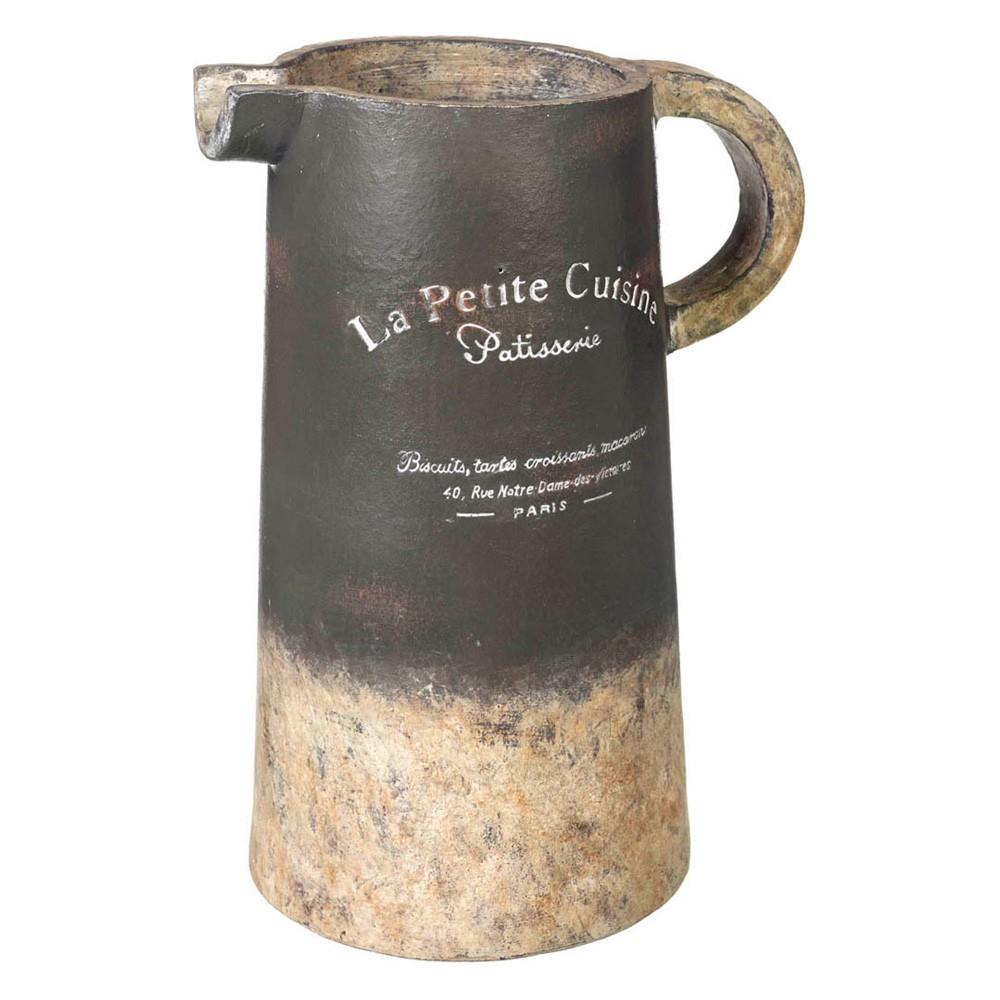 La Petite Cuisine Handmade Earthenware Pitcher, Distressed Grey