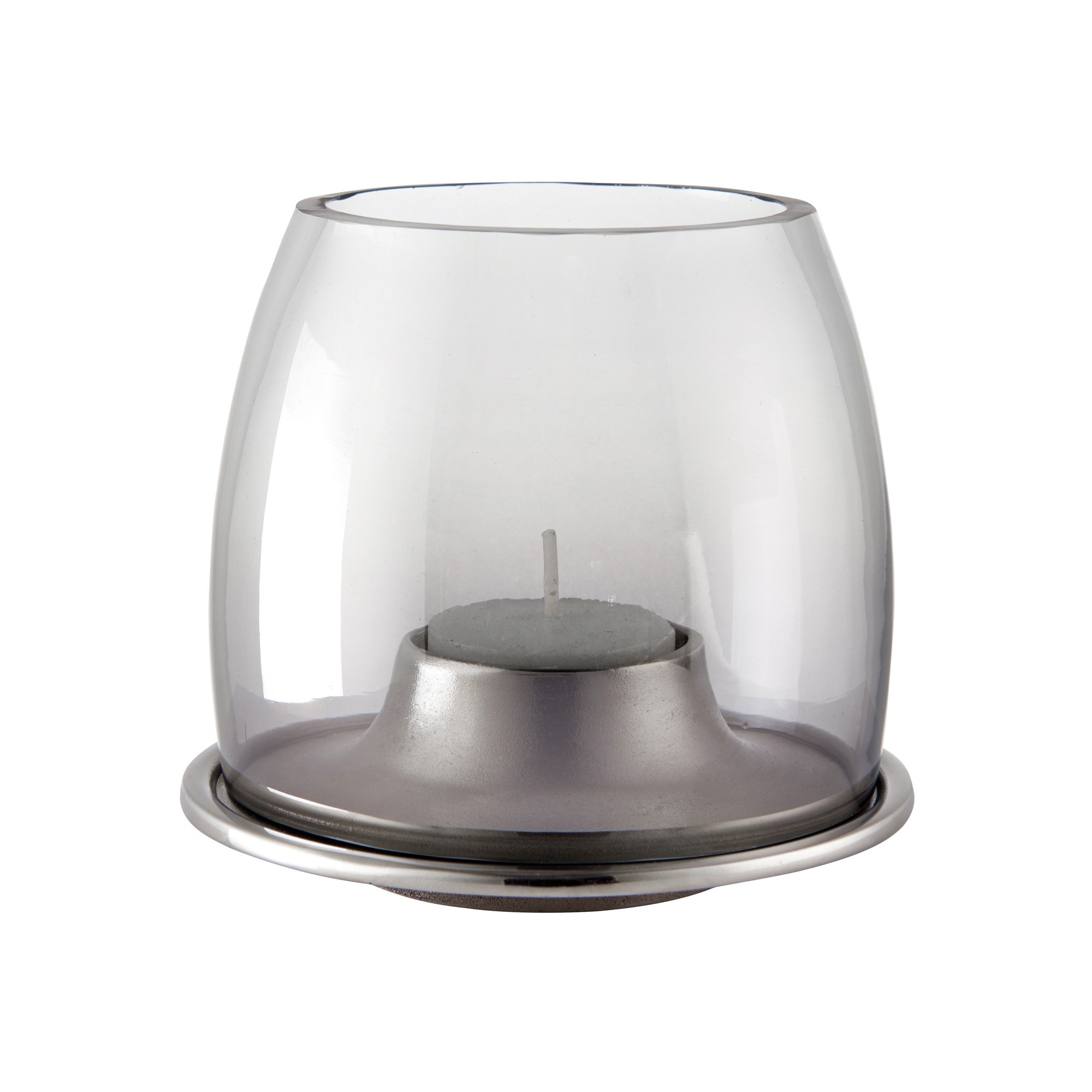Ellison Glass & Metal Tealight Holder, Smoky Grey