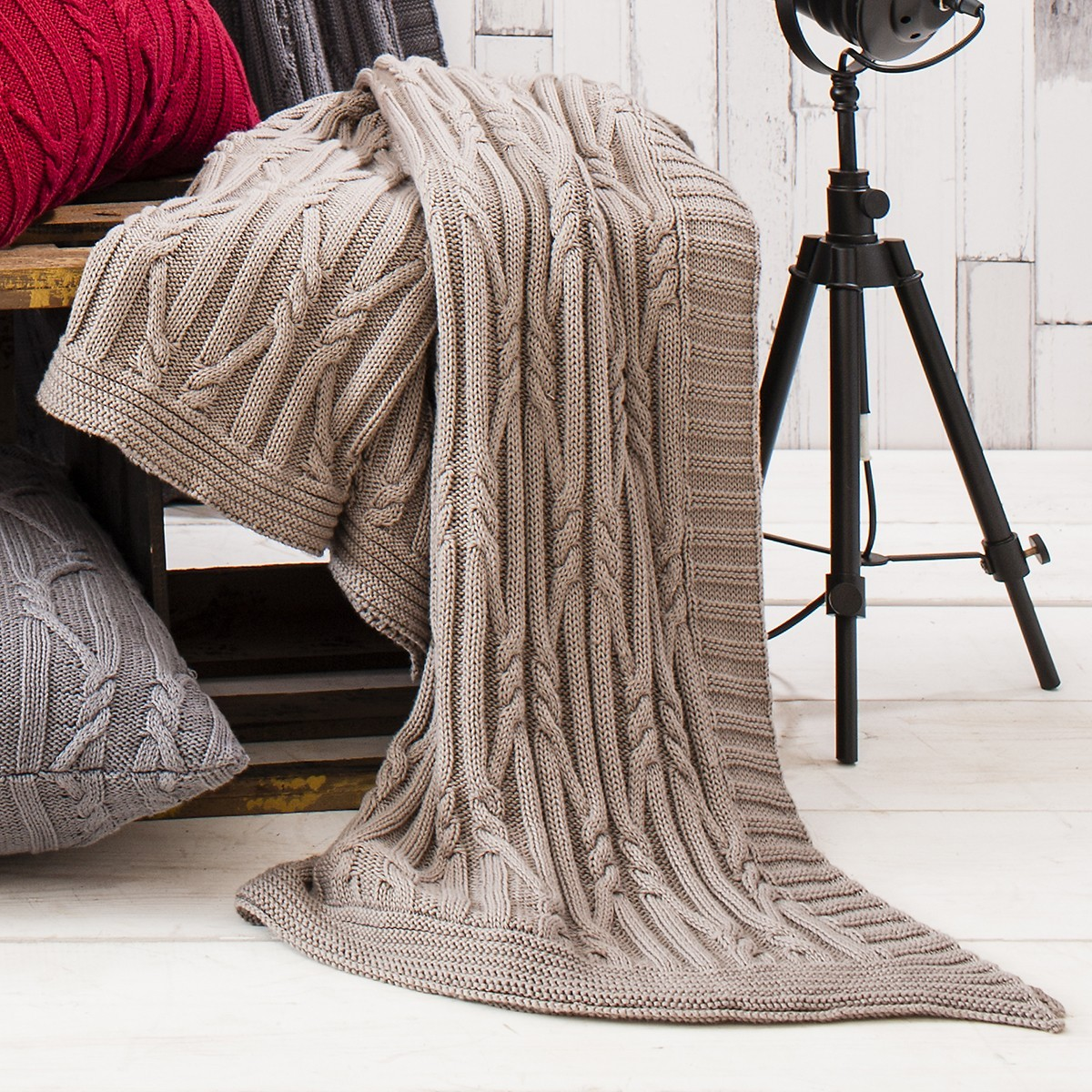 Arran Knitted Cotton Throw, Taupe