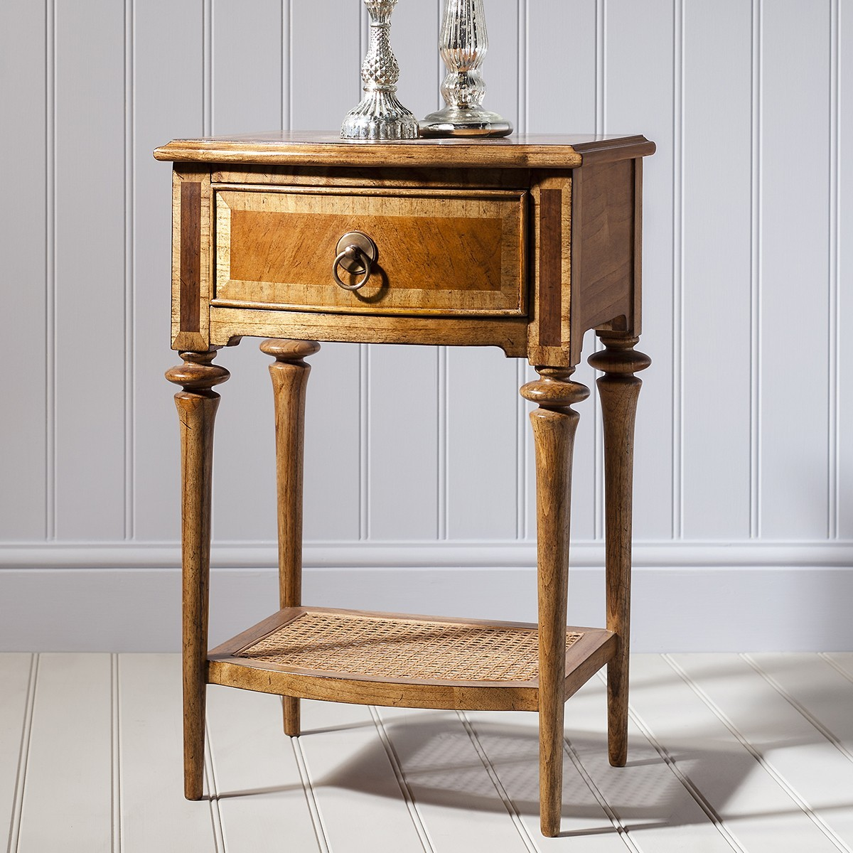 Spire Timber Single Drawer Bedside Table with Cane Shelf