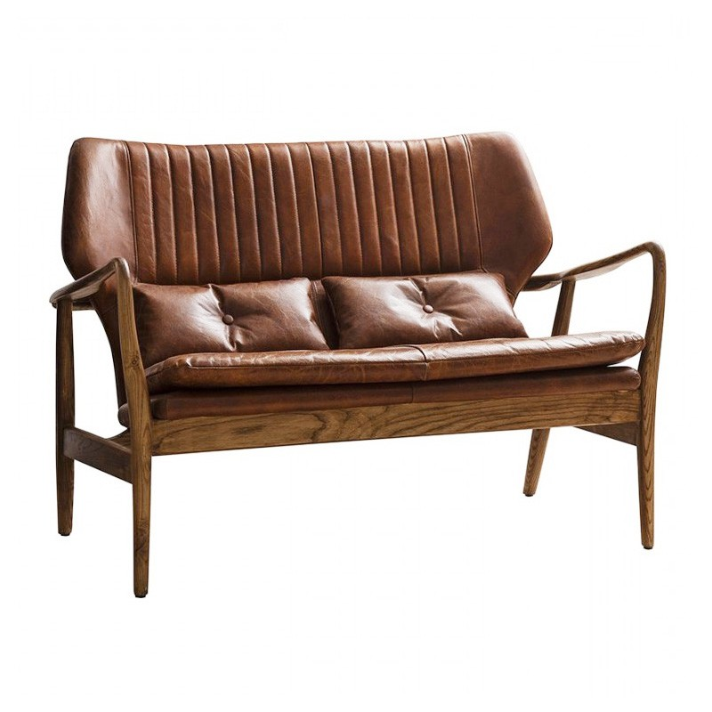 Whitworth Leather & Oak Timber 2 Seater Sofa, Brown