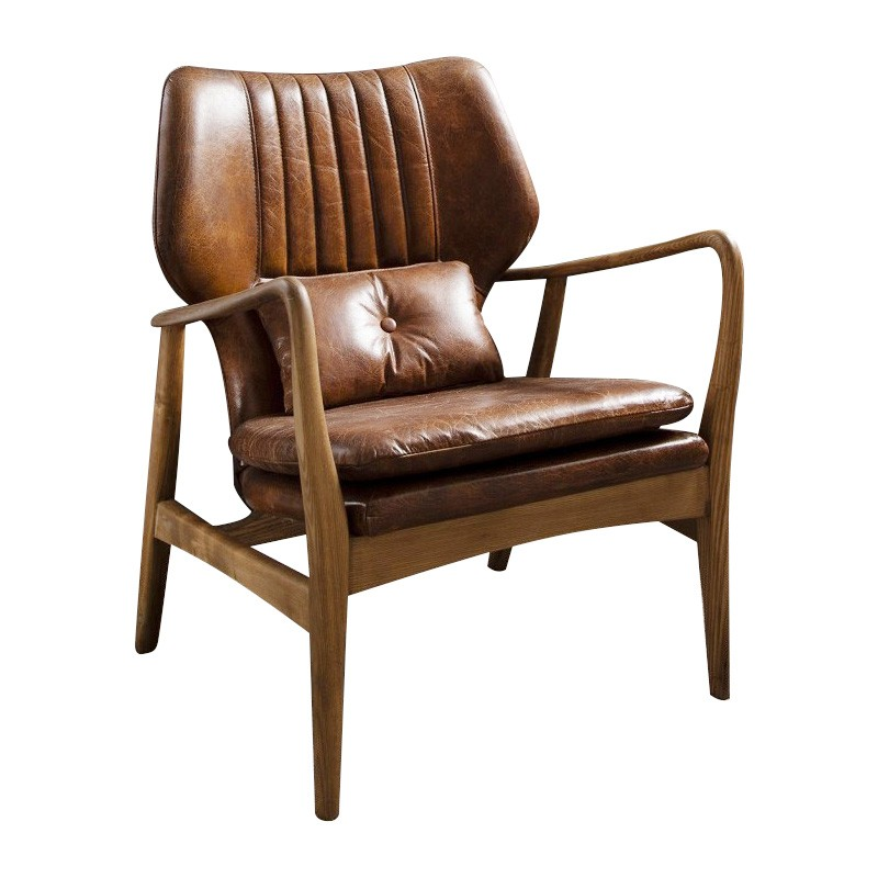 Whitworth Leather & Oak Timber Lounge Armchair, Brown