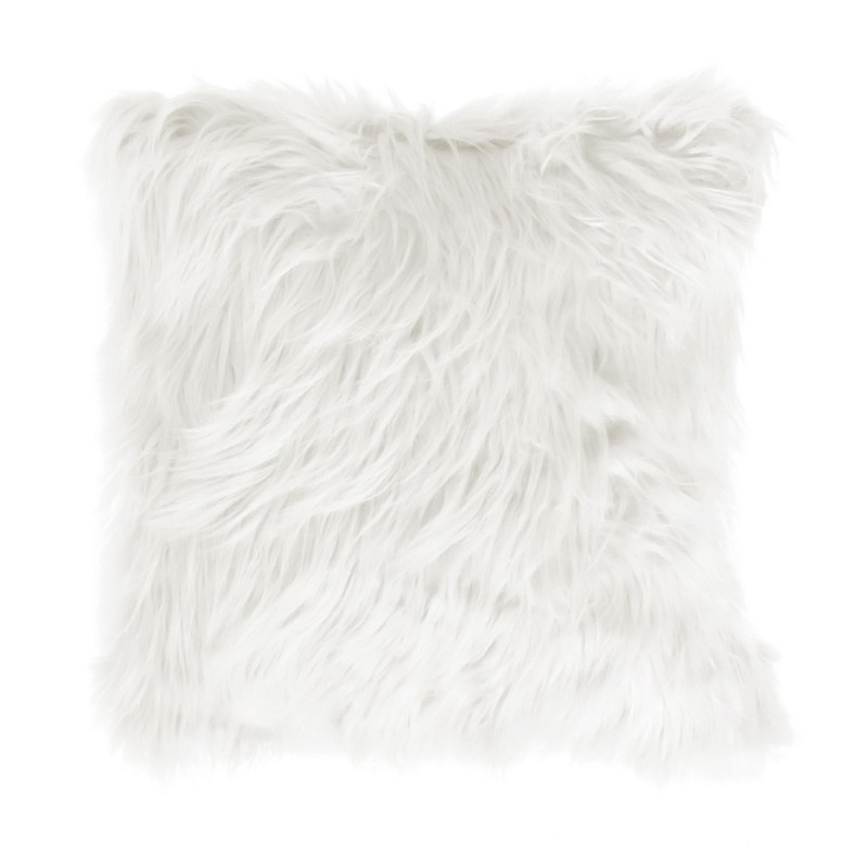 Mongolian Feather Filled Faux Fur Scatter Cushion, Cream