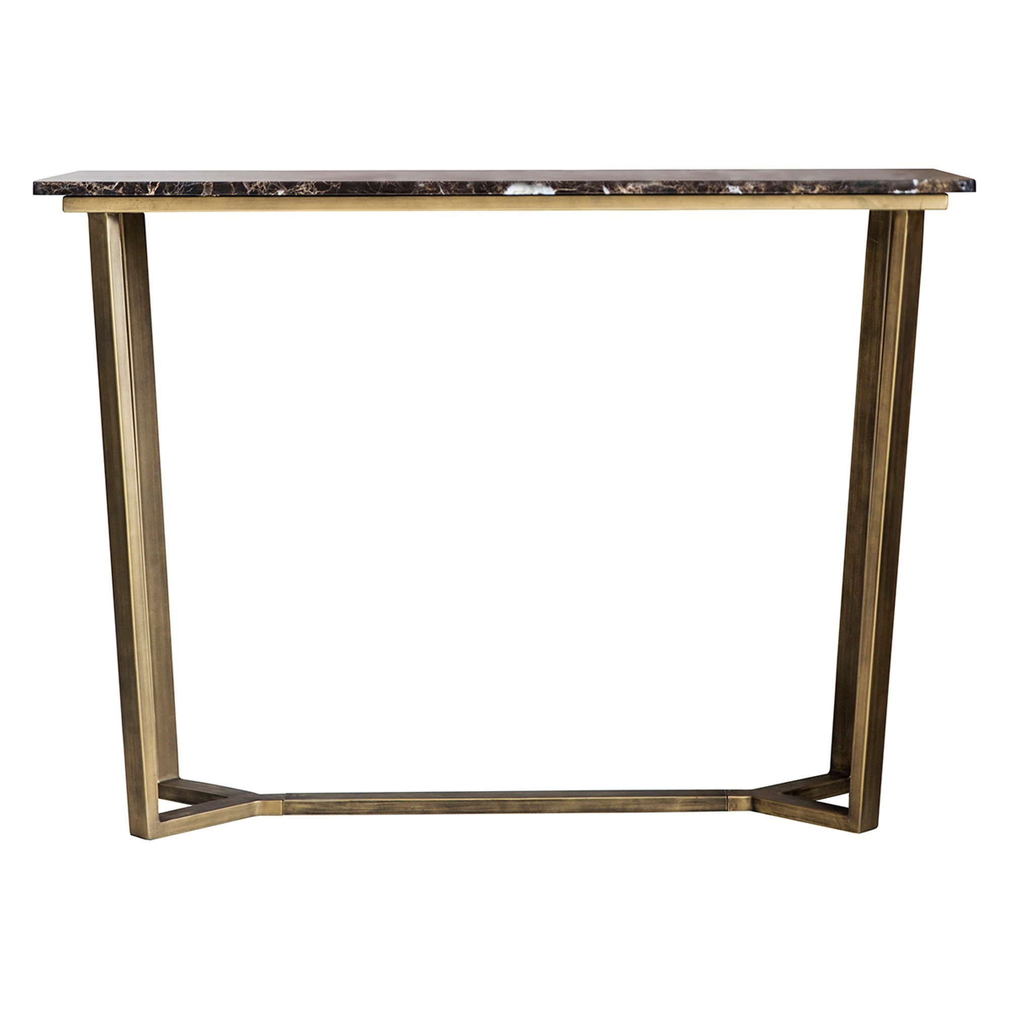 Emperor Marble Top Console Table, 110cm, Brown / Brass