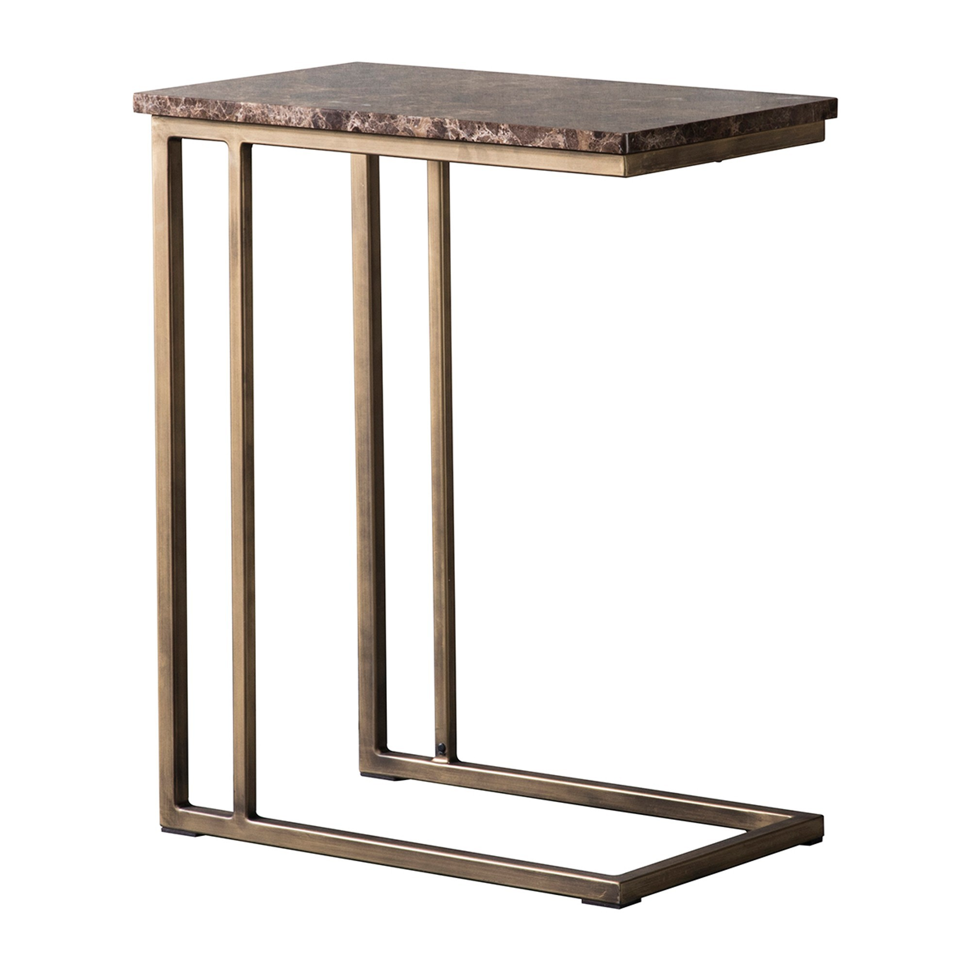 Emperor Marble Top C-shape Table, Brown / Brass
