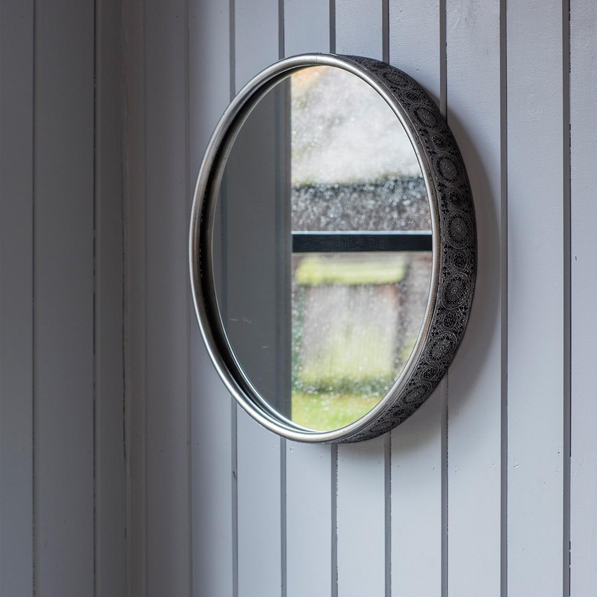 Taynton Metal Frame Round Wall Mirror, 42cm
