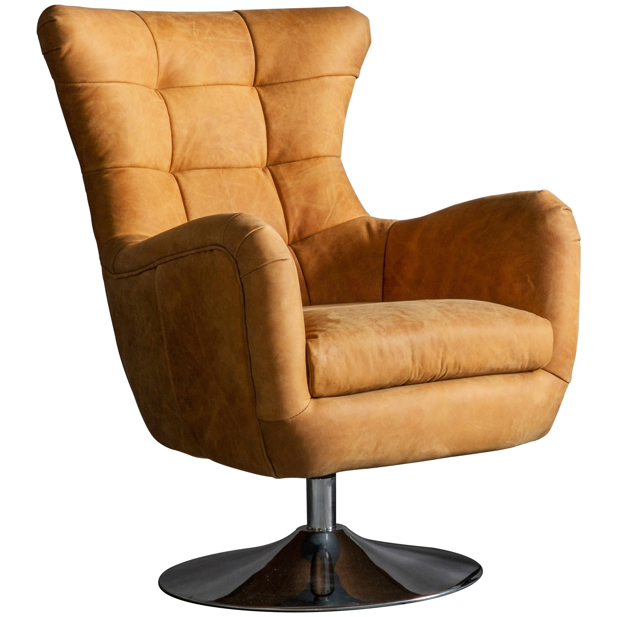 Birdine Luxurious Leather Uphostered Swivel Armchair, Saddle Tan