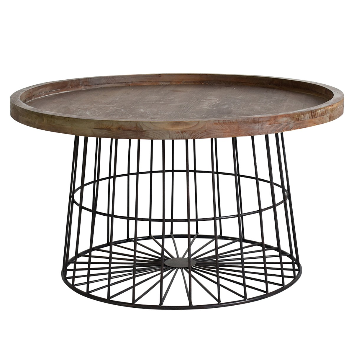 Myrick Fir Timber & Metal Tray Top Round Coffee Table, 80cm