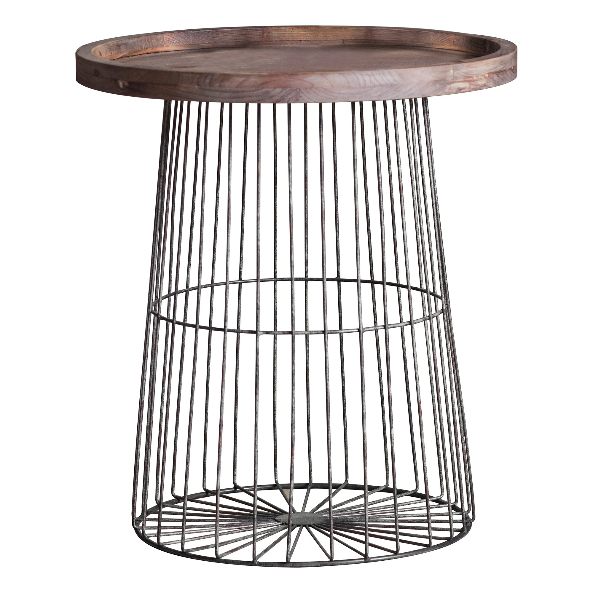 Myrick Fir Timber & Metal Tray Top Round Side Table