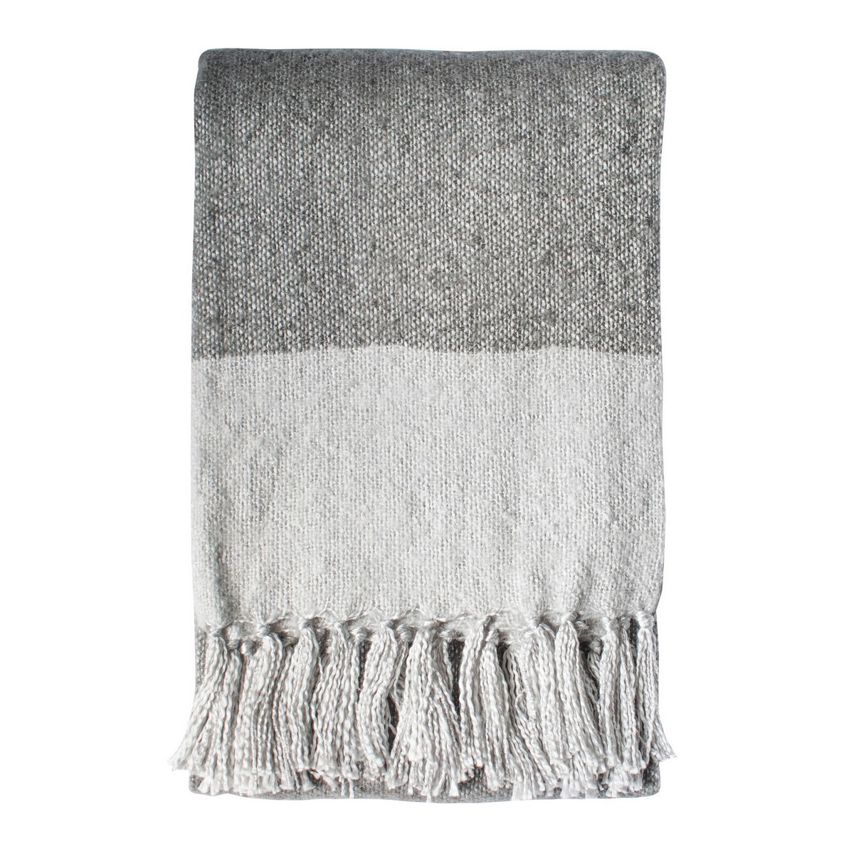 Lexden Tonal Faux Mohair Throw, Slate / Silver