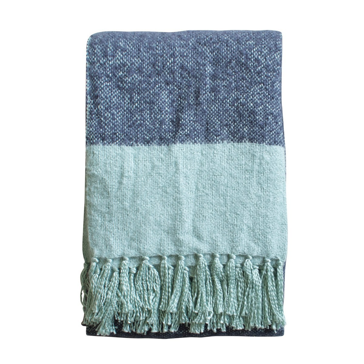 Lexden Tonal Faux Mohair Throw, Ink / Duck Egg Blue