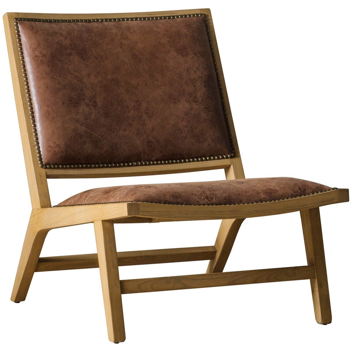 Carnaby Leather & Ash Timber Lounge Chair, Tan