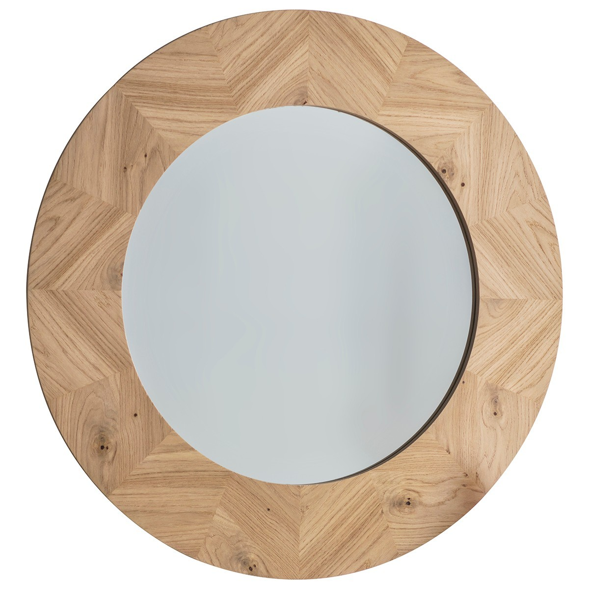Maja Oak Timber Frame Round Wall Mirror, 90cm