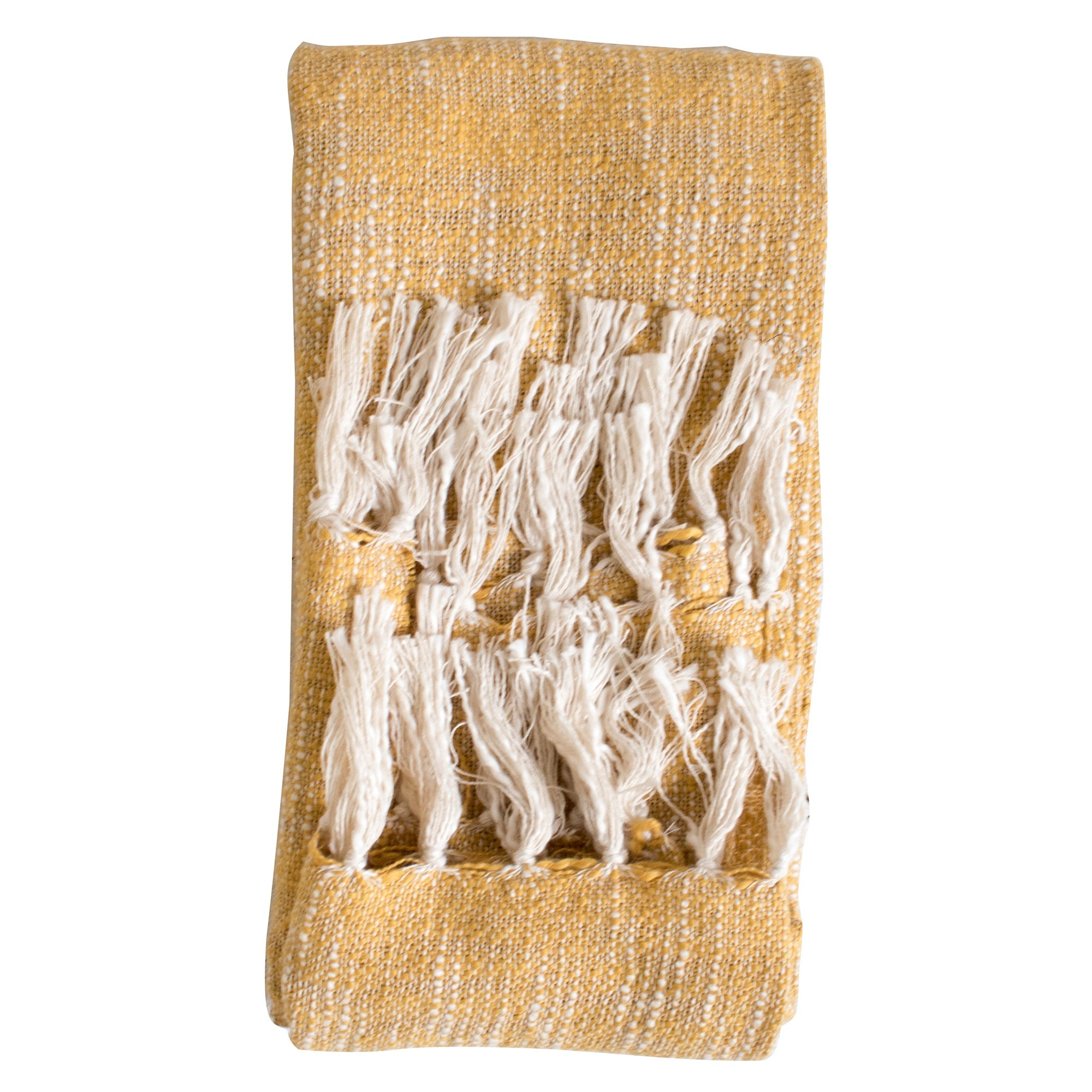 Safa Fringed Cotton Throw, Ochre