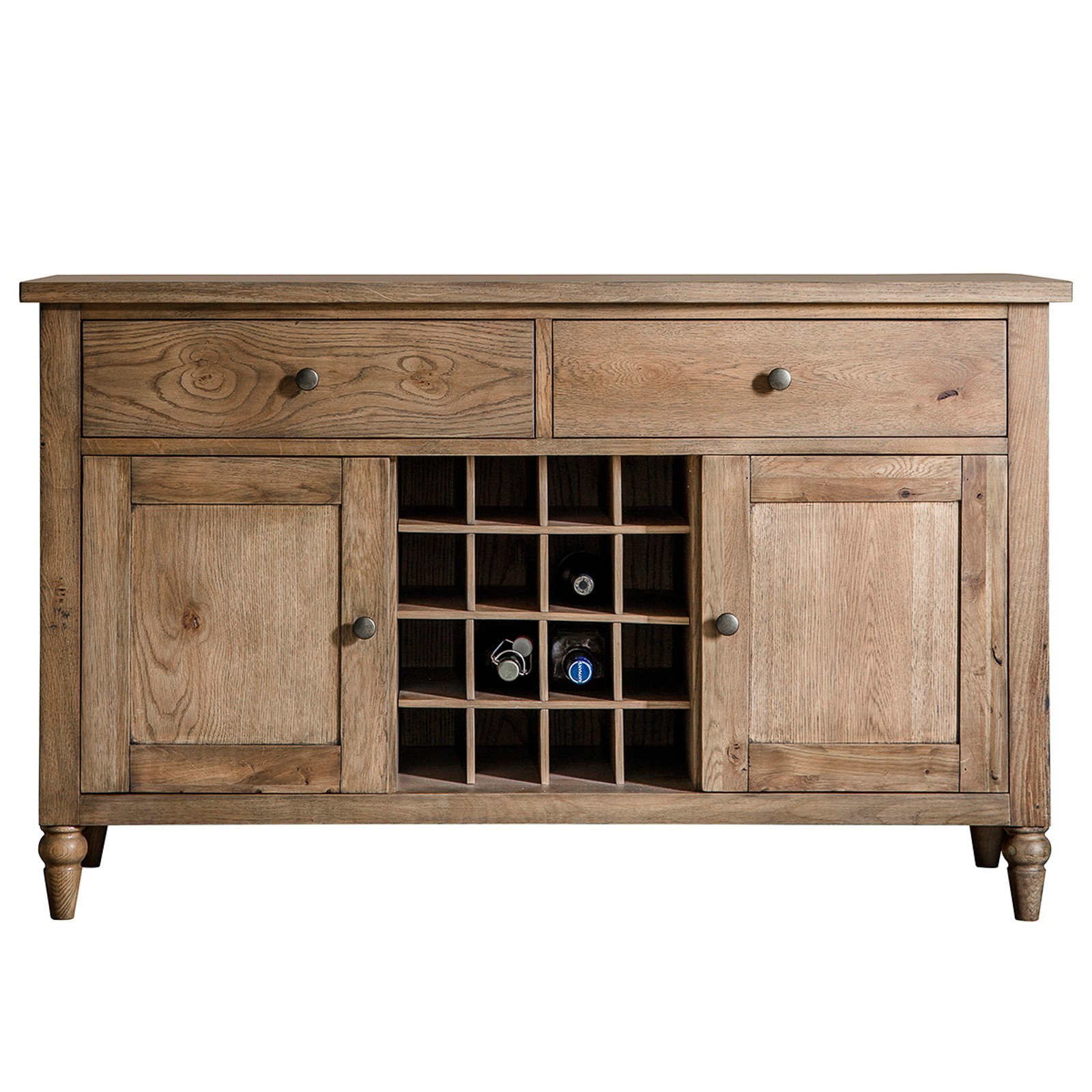 Charlotte Oak Timber 2 Door 2 Drawer Sideboard, 130cm